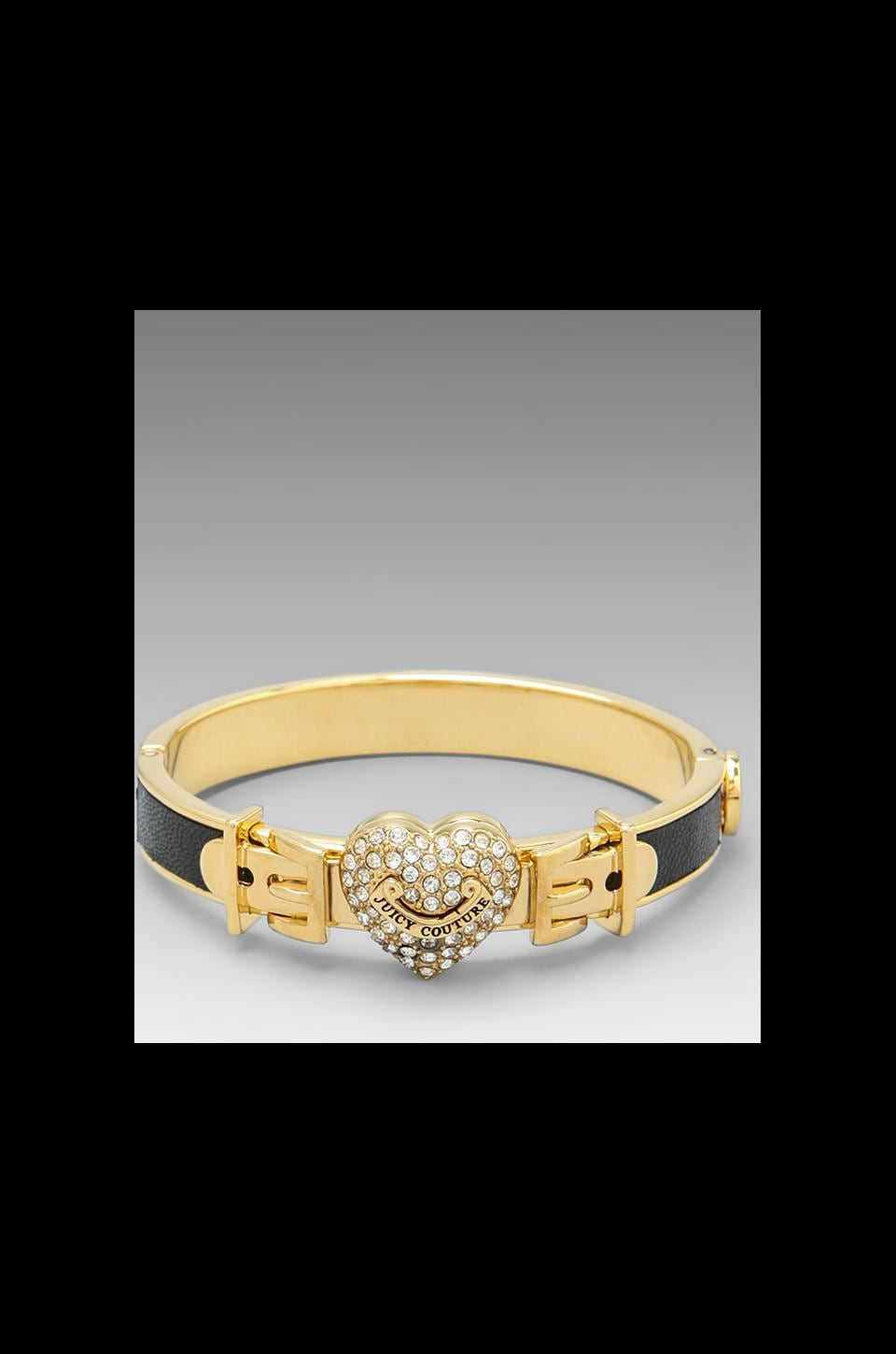 Juicy Couture Pave Heart Leather Bangle in Black