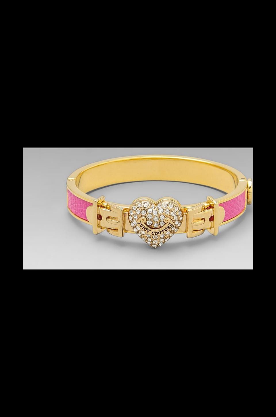 Juicy Couture Pave Heart Leather Bangle in Passion Pink