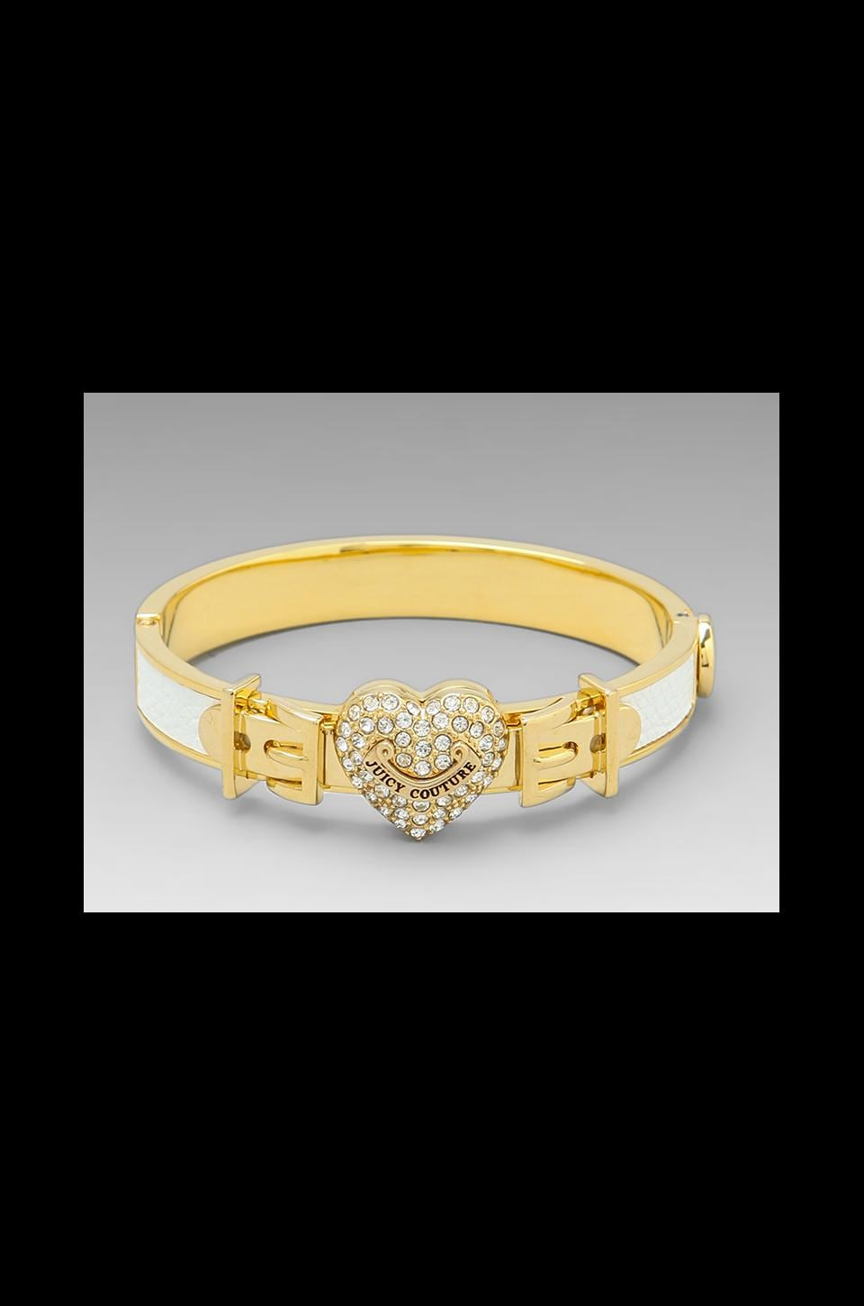 Juicy Couture Pave Heart Leather Bangle in White