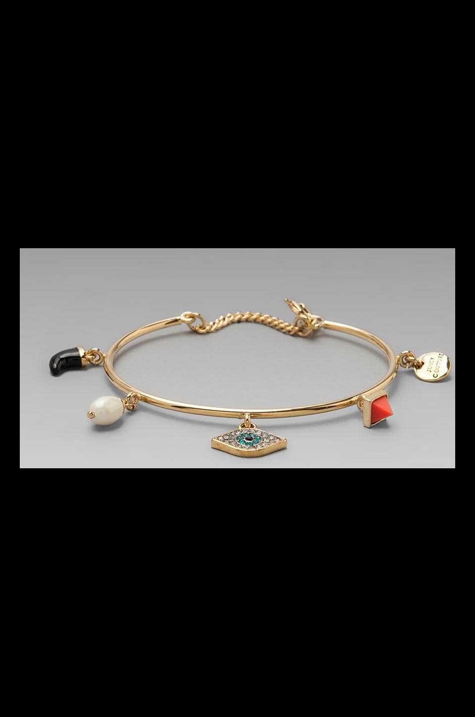 Juicy Couture Evil Eye Charm Bangle in Gold