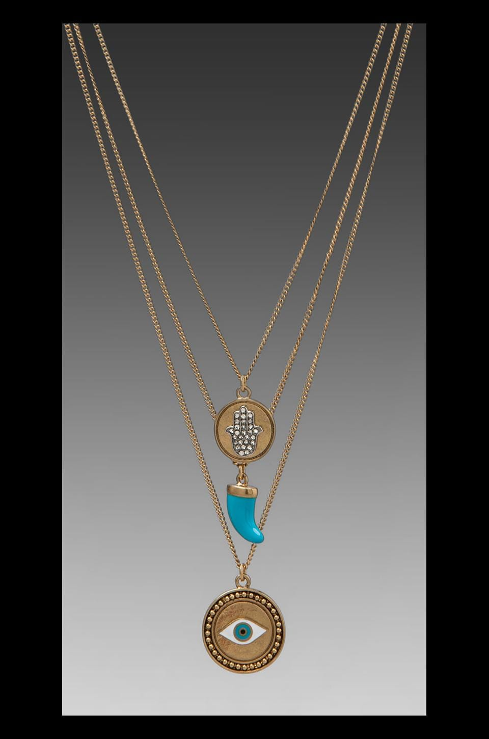 Juicy Couture Triple Chain Disc Necklace in Turquoise