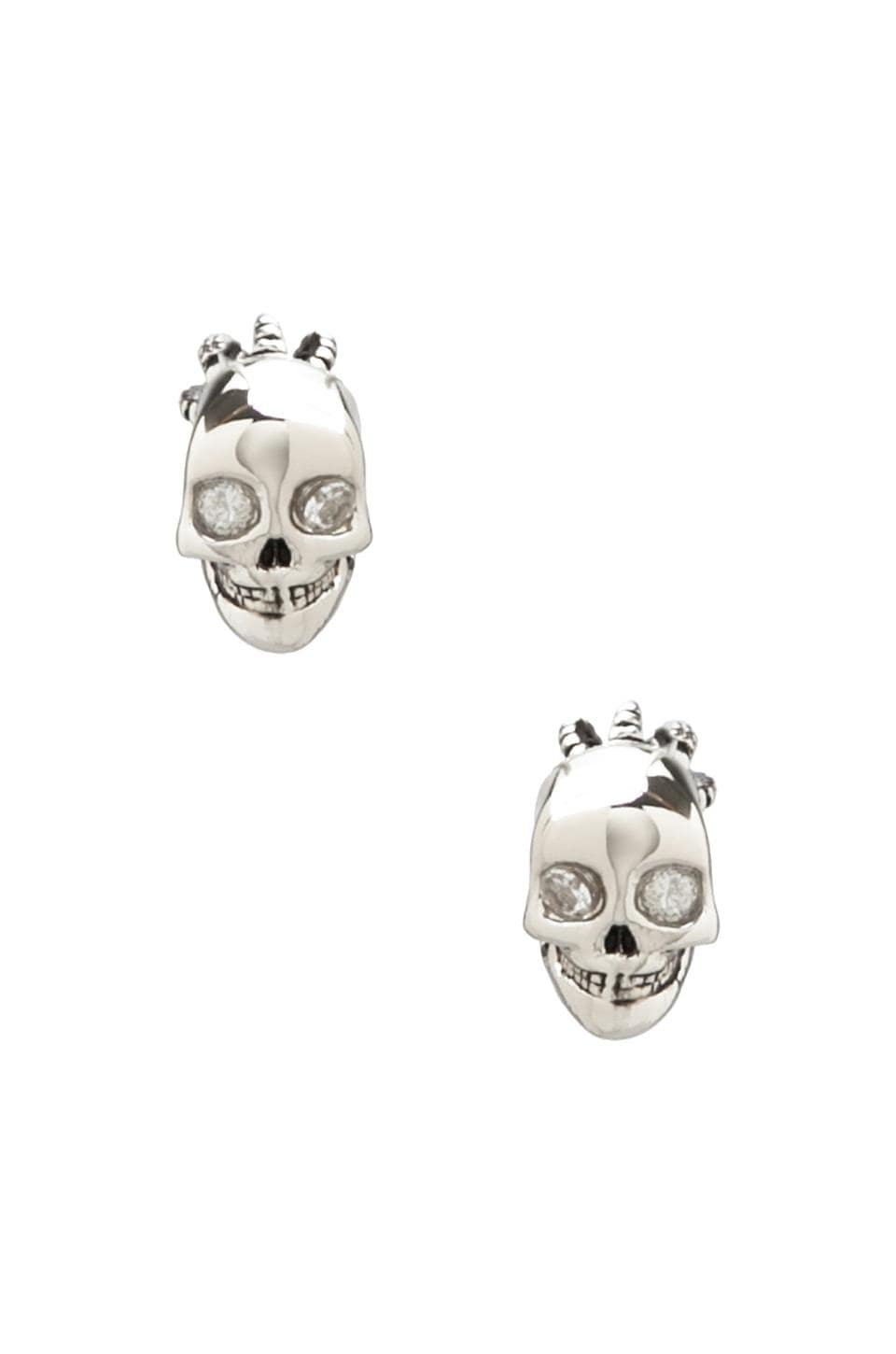 Juicy Couture Skull Stud Earrings in Silver