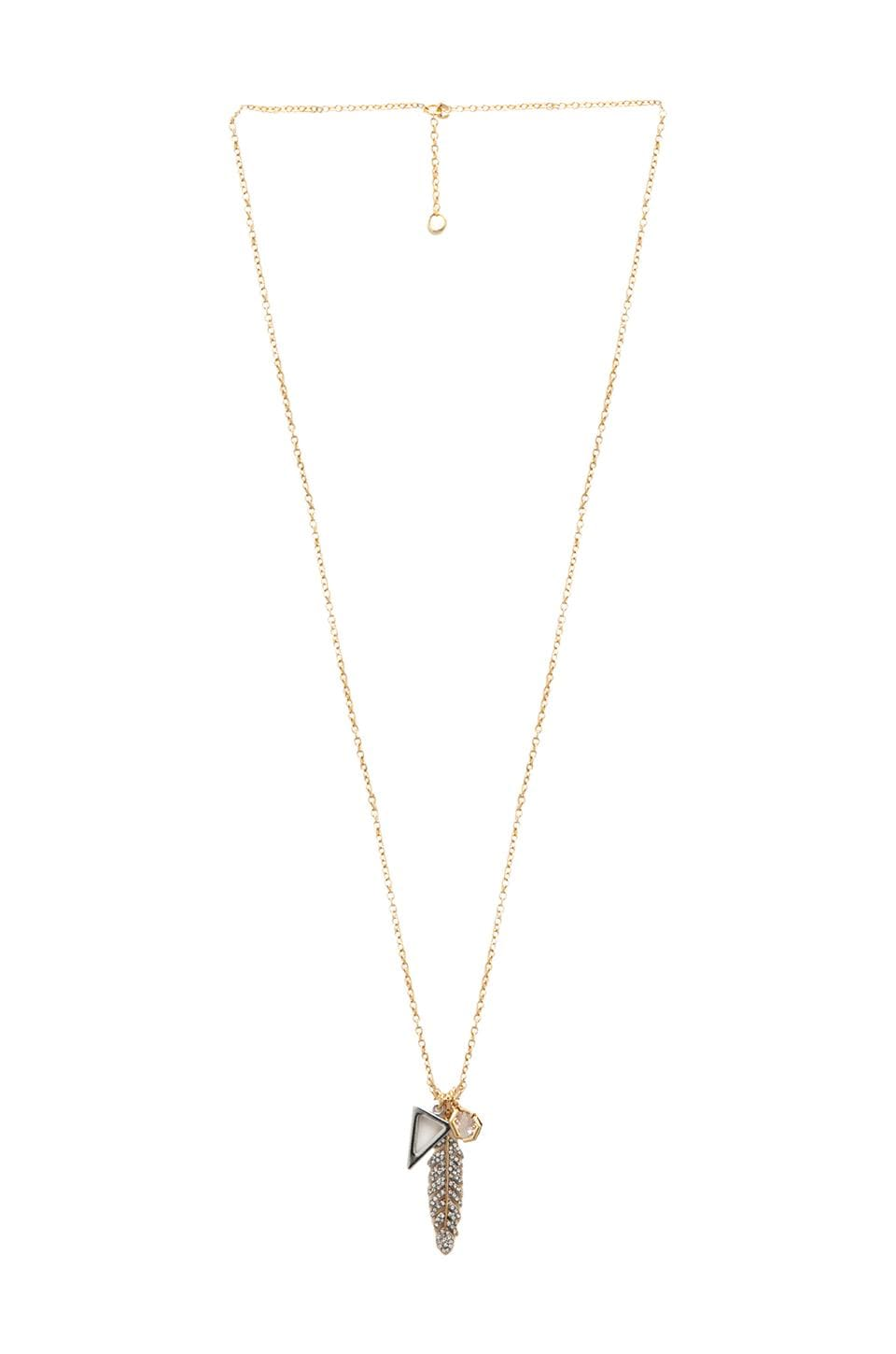 Juicy Couture Pave Feather Cluster Pendant in Gold