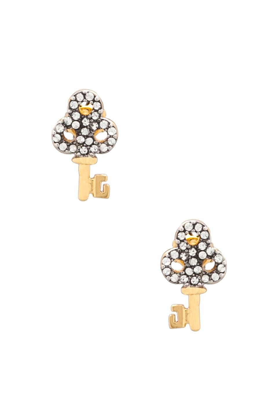 Juicy Couture Charm Minis Pave Key Studs in Gold