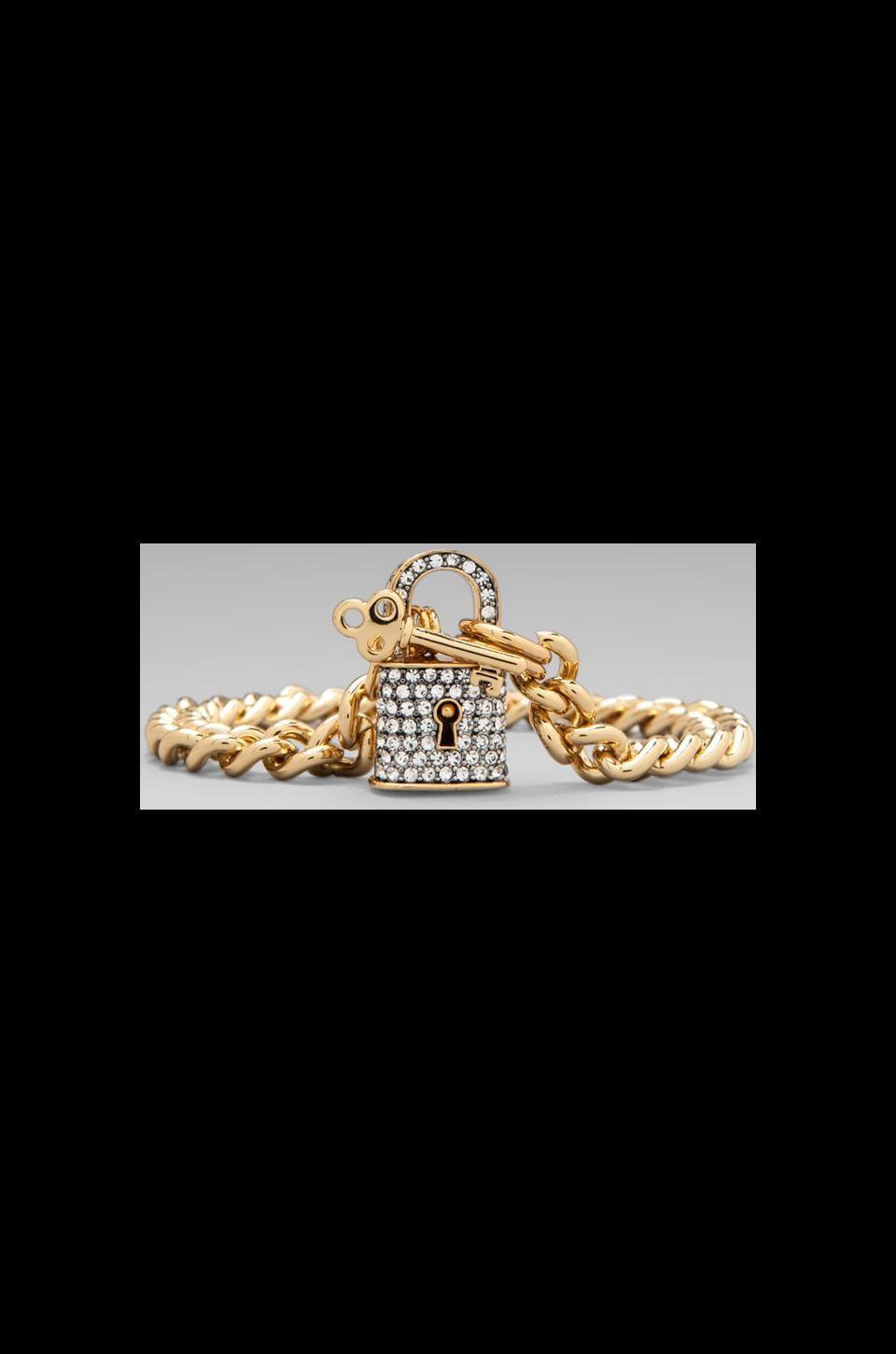 Juicy Couture Totally Secure Couture Pave Padlock Bracelet in Gold