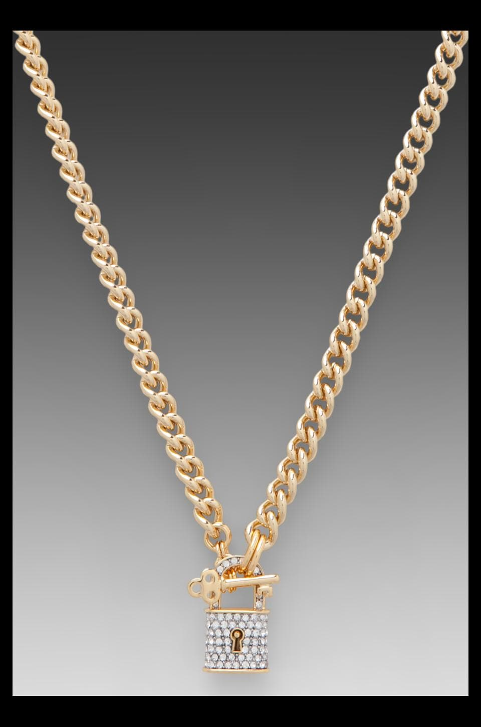 Juicy Couture Totally Secure Couture Pave Padlock Chain Necklace in Gold