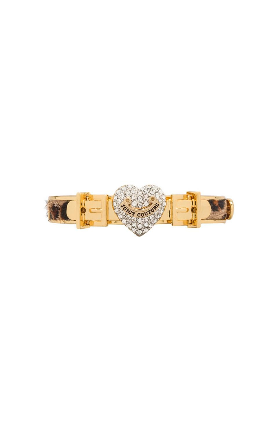 Juicy Couture Pave Heart Leather Hinged Bangle in Leopard