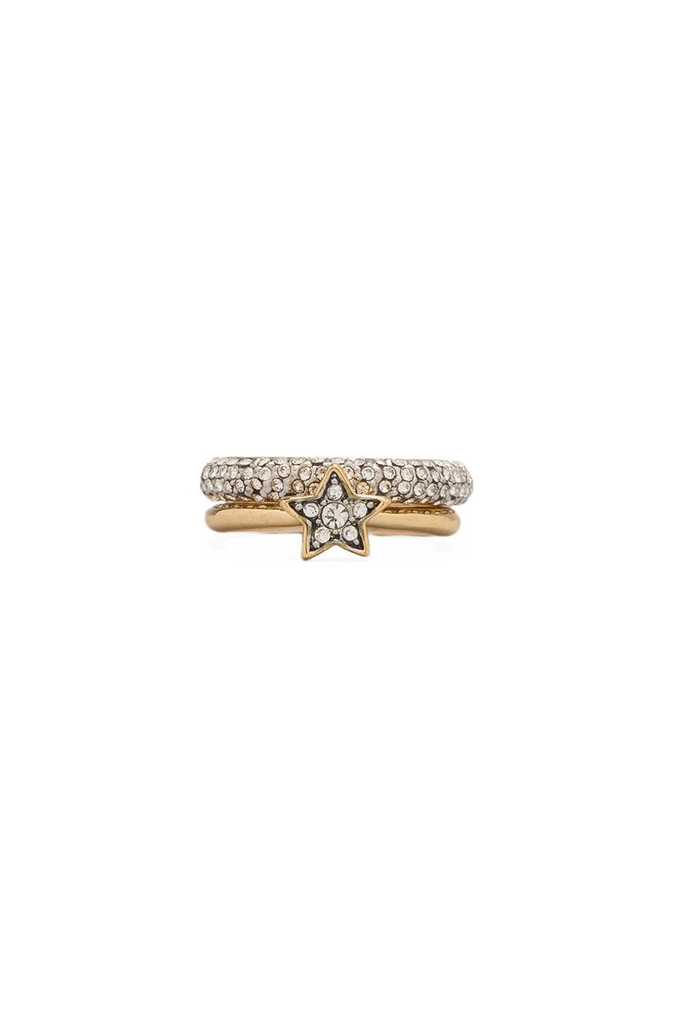Juicy Couture Pave Star Ring Duo in Gold