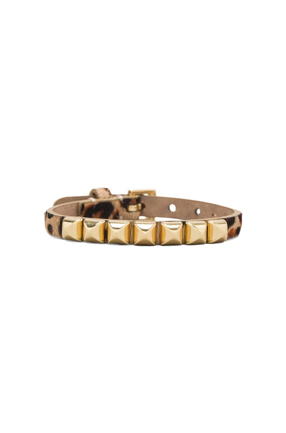 Juicy Couture Skinny Leather Pyramid Bracelet in Leopard