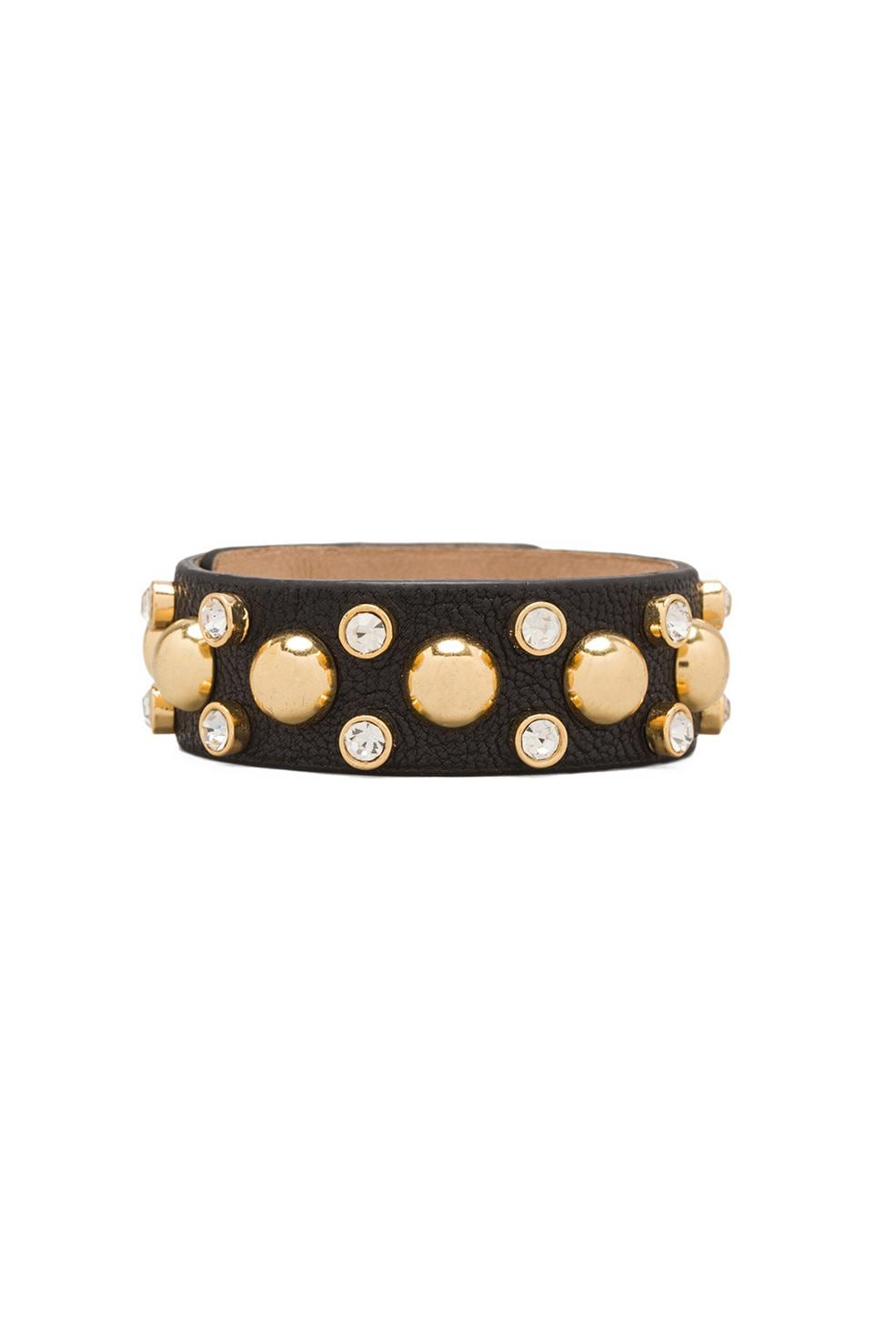 Juicy Couture Thin Studded Leather Cuff in Black