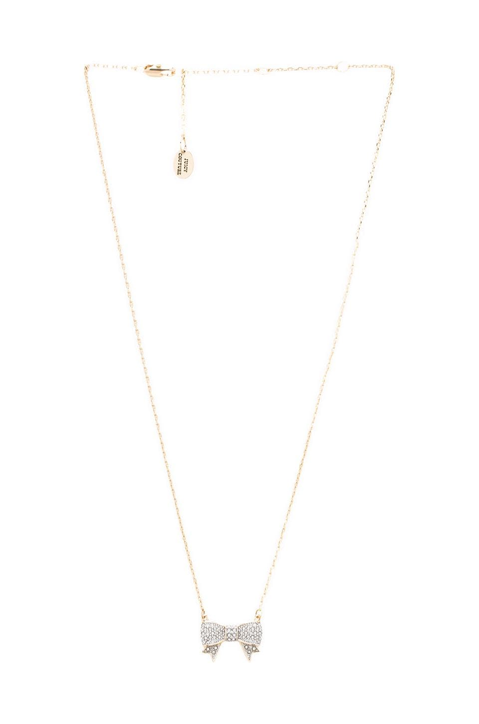 Juicy Couture Pave Bow Wish Necklace in Gold