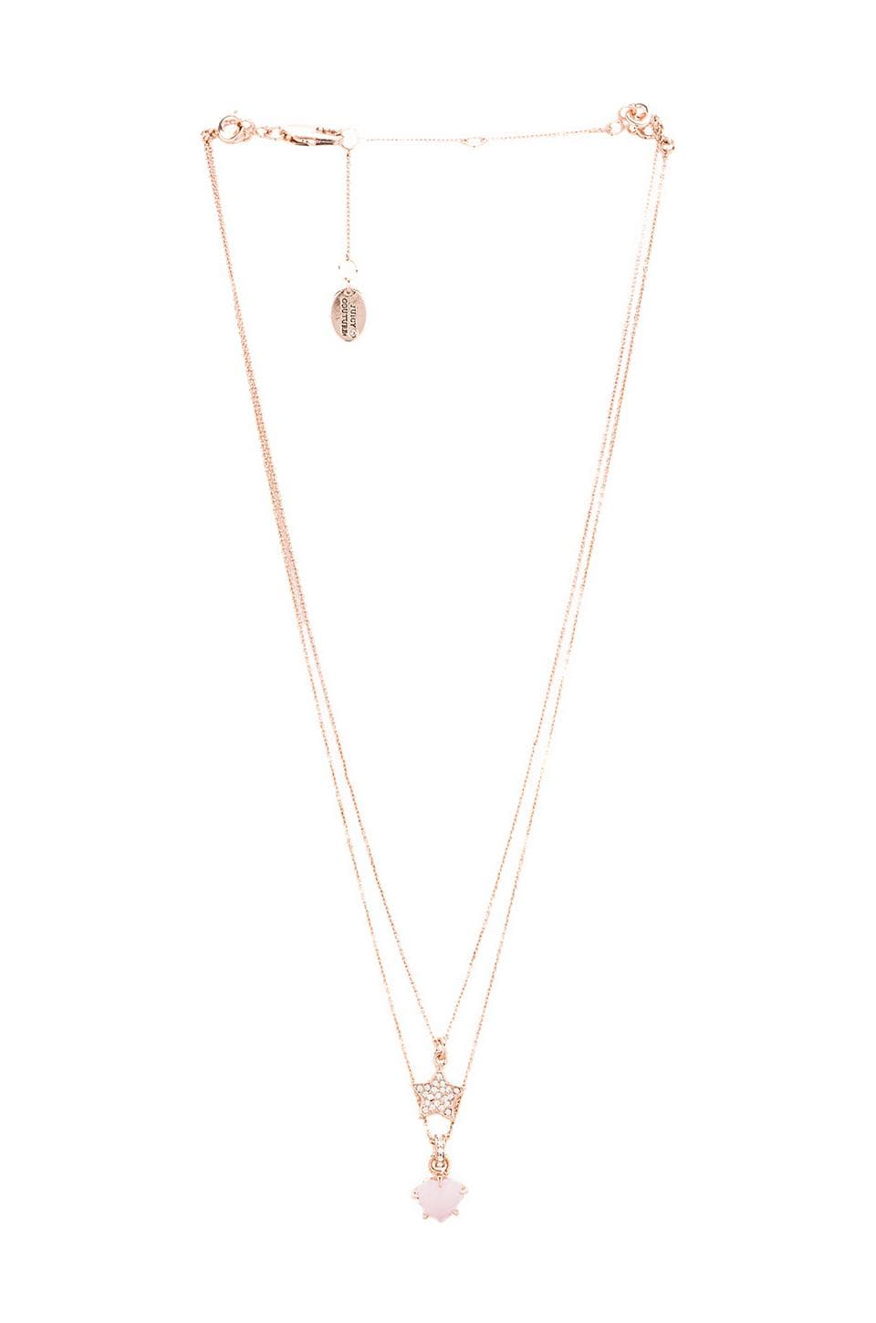 Juicy Couture Double Layer Pave Star Necklace in Rose Gold