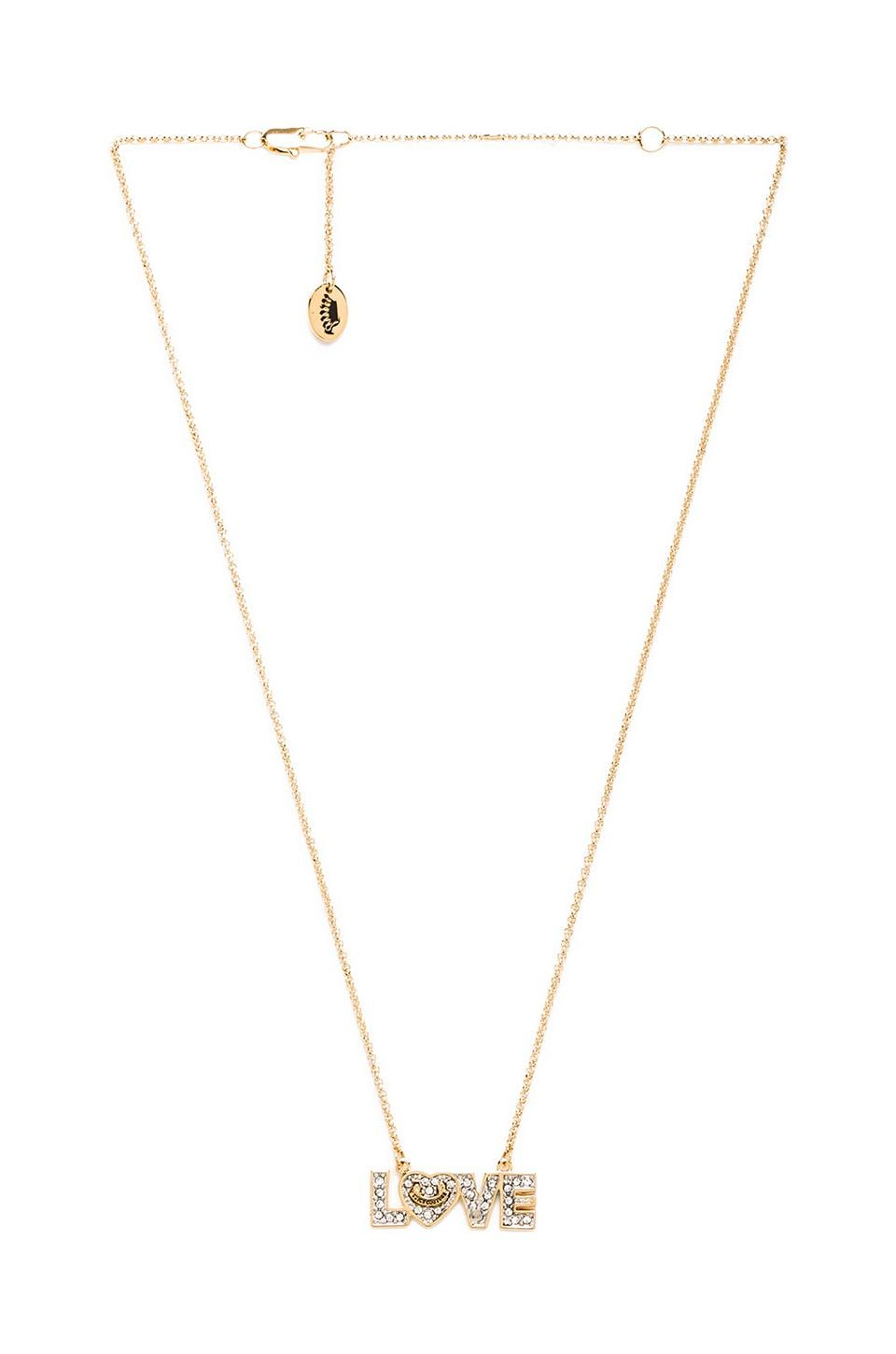 Juicy Couture Pave Love Wish Necklace in Gold