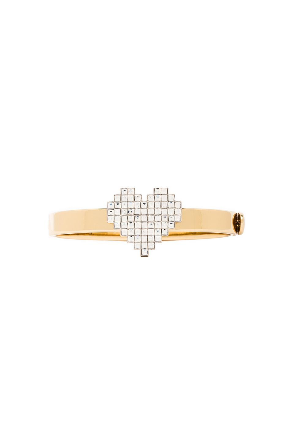 Juicy Couture Pixel Heart Hinged Bangle in Gold