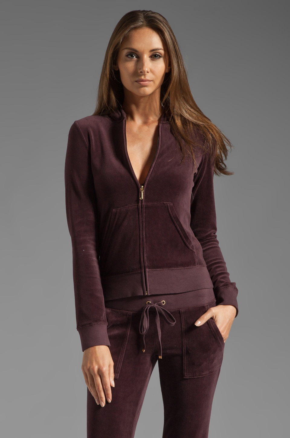 Juicy Couture Velour Original Zip Hoodie in Dark Cabernet