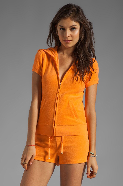 Juicy Couture Terry Puff Sleeve Hoodie in Tangerine