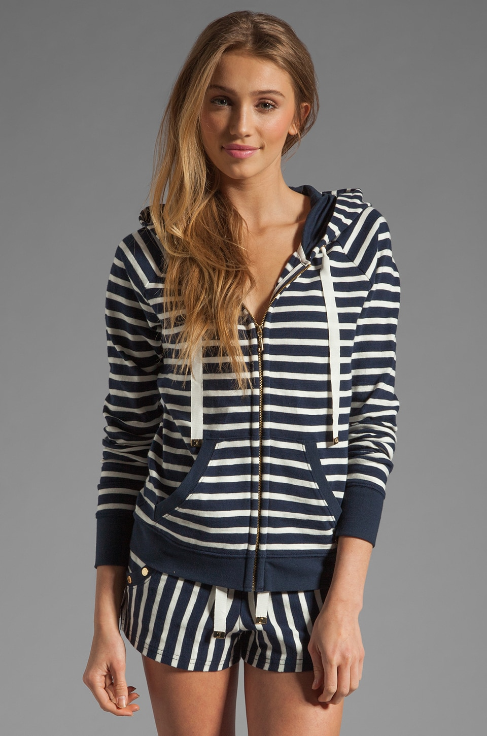 Juicy Couture Harbor Stripe Hoodie in Regal Stripe