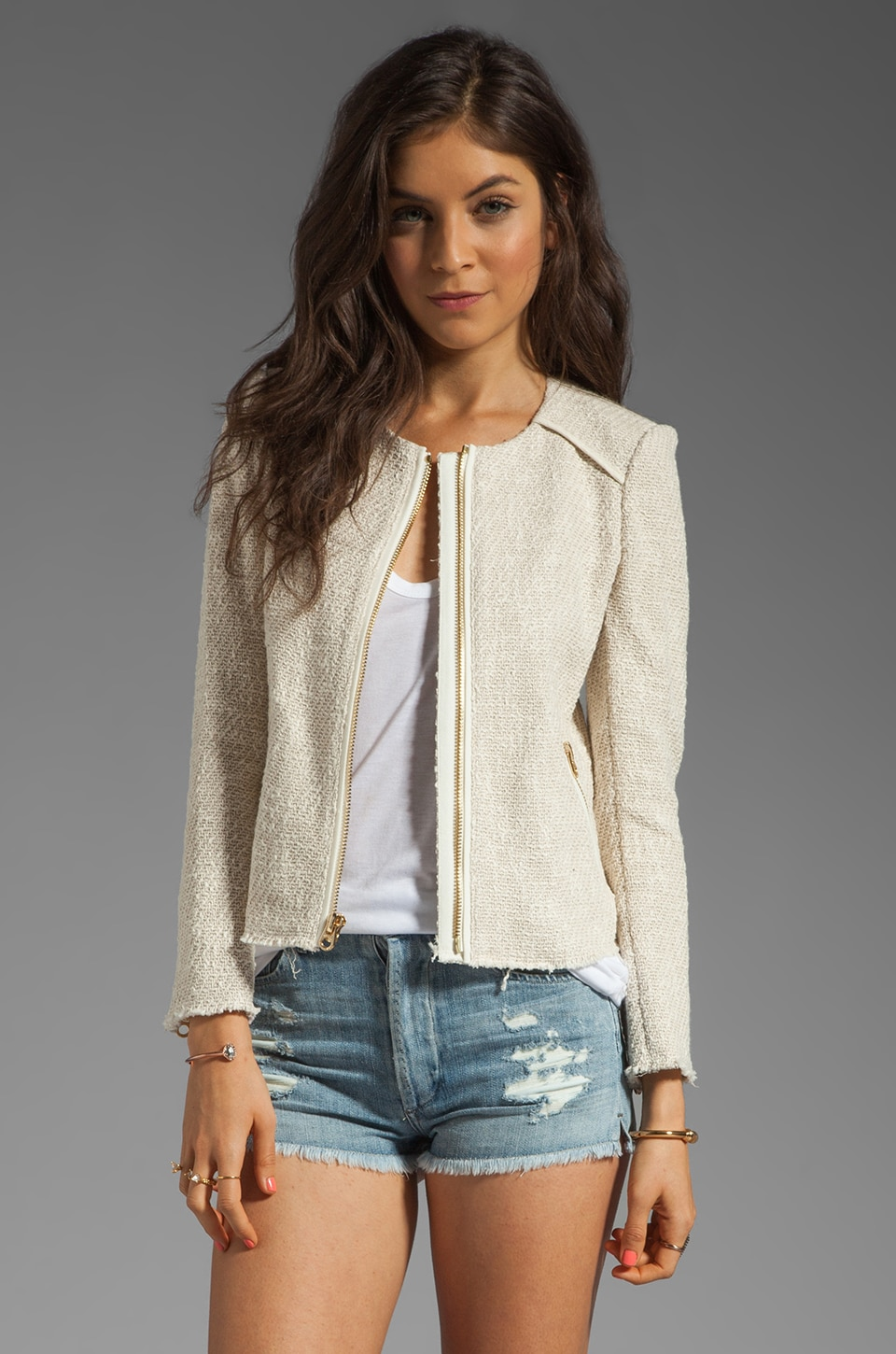 Juicy Couture Textured Novelty Jacket in Pale Bamboo