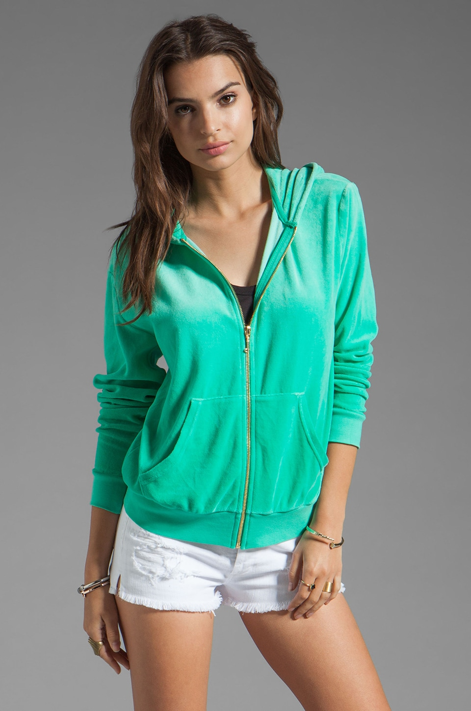 Juicy Couture Ombre Velour Relaxed Hoodie in Bright Jade