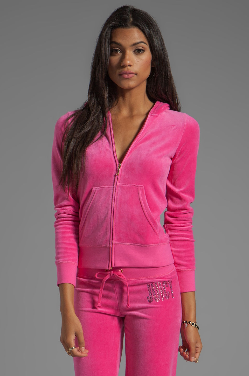 Juicy Couture Velour Choose Juicy Hoodie in Dragonfruit