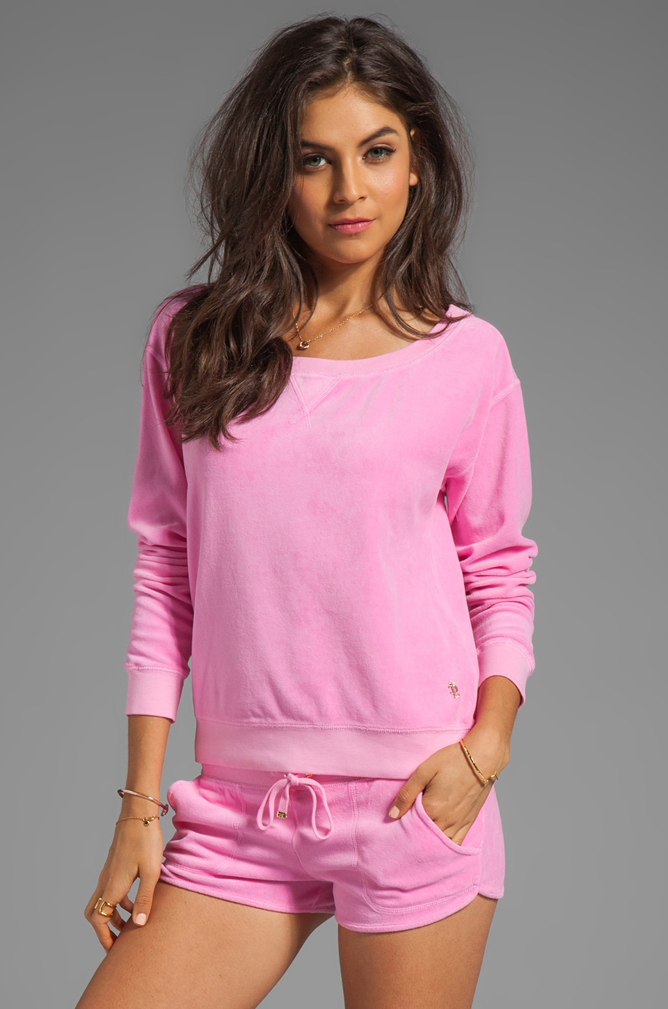 Juicy Couture Velour Off the Shoulder Sweatshirt in Synthetic Pink