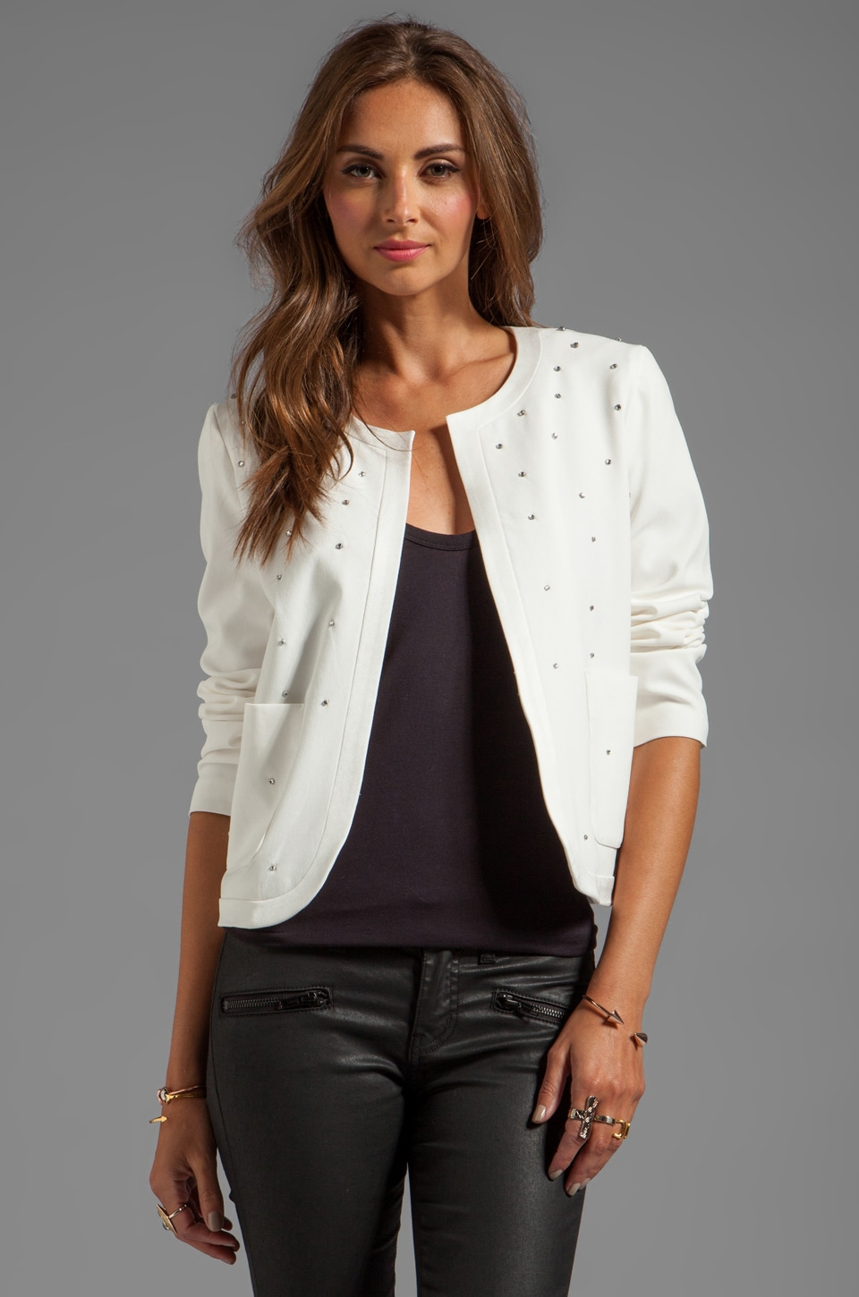 Juicy Couture Fluid Crepe Jacket in Angel