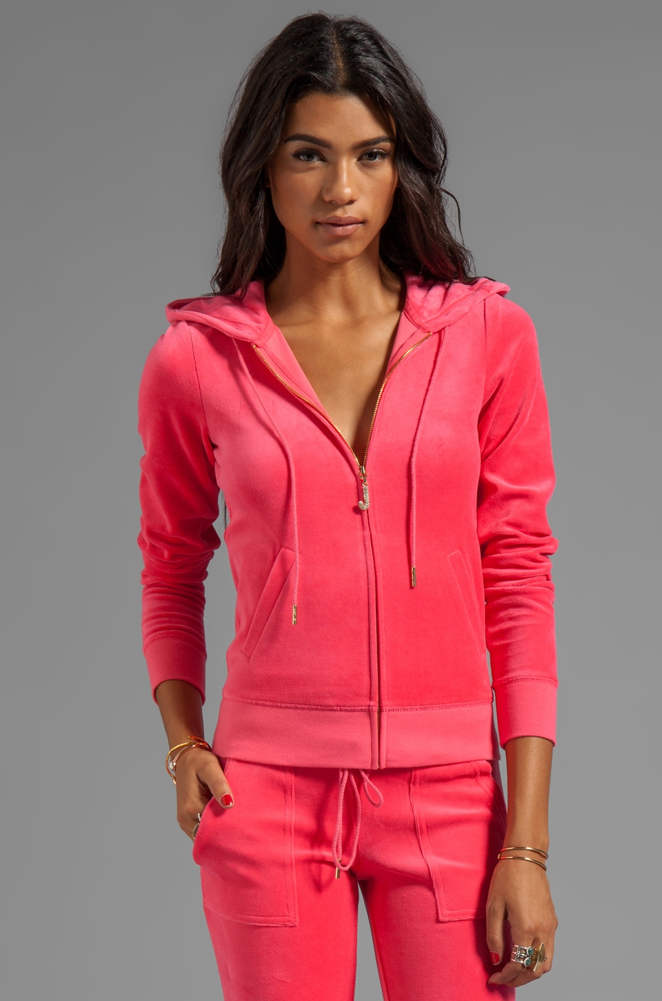 Juicy Couture Velour J Bling Hoodie in Frolic