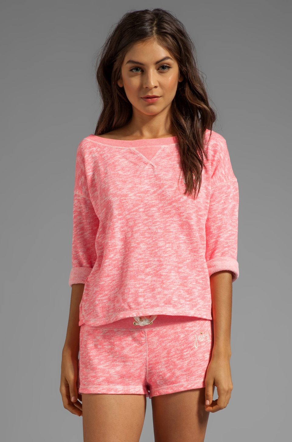 Juicy Couture Marled French Terry Pullover in Marled Geranium