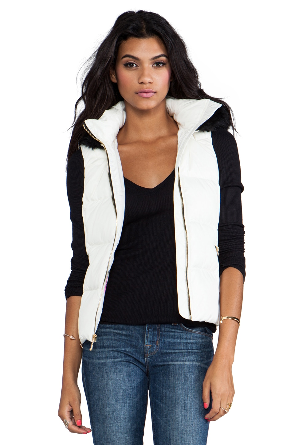 Juicy Couture Lexie Nylon Vest with Faux Fur Trim in Angel