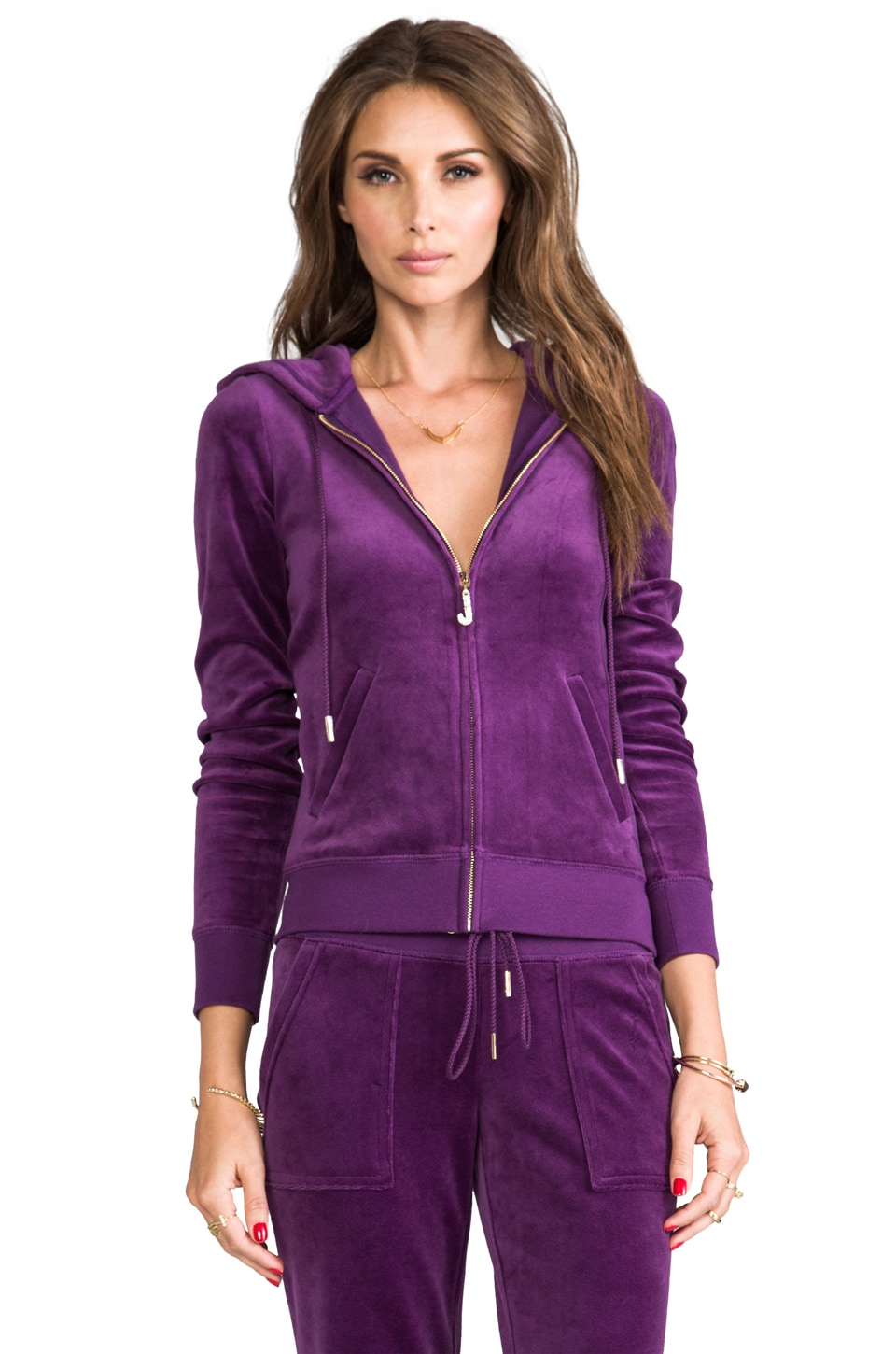 Juicy Couture J Bling Hoodie in Jeweled Plum