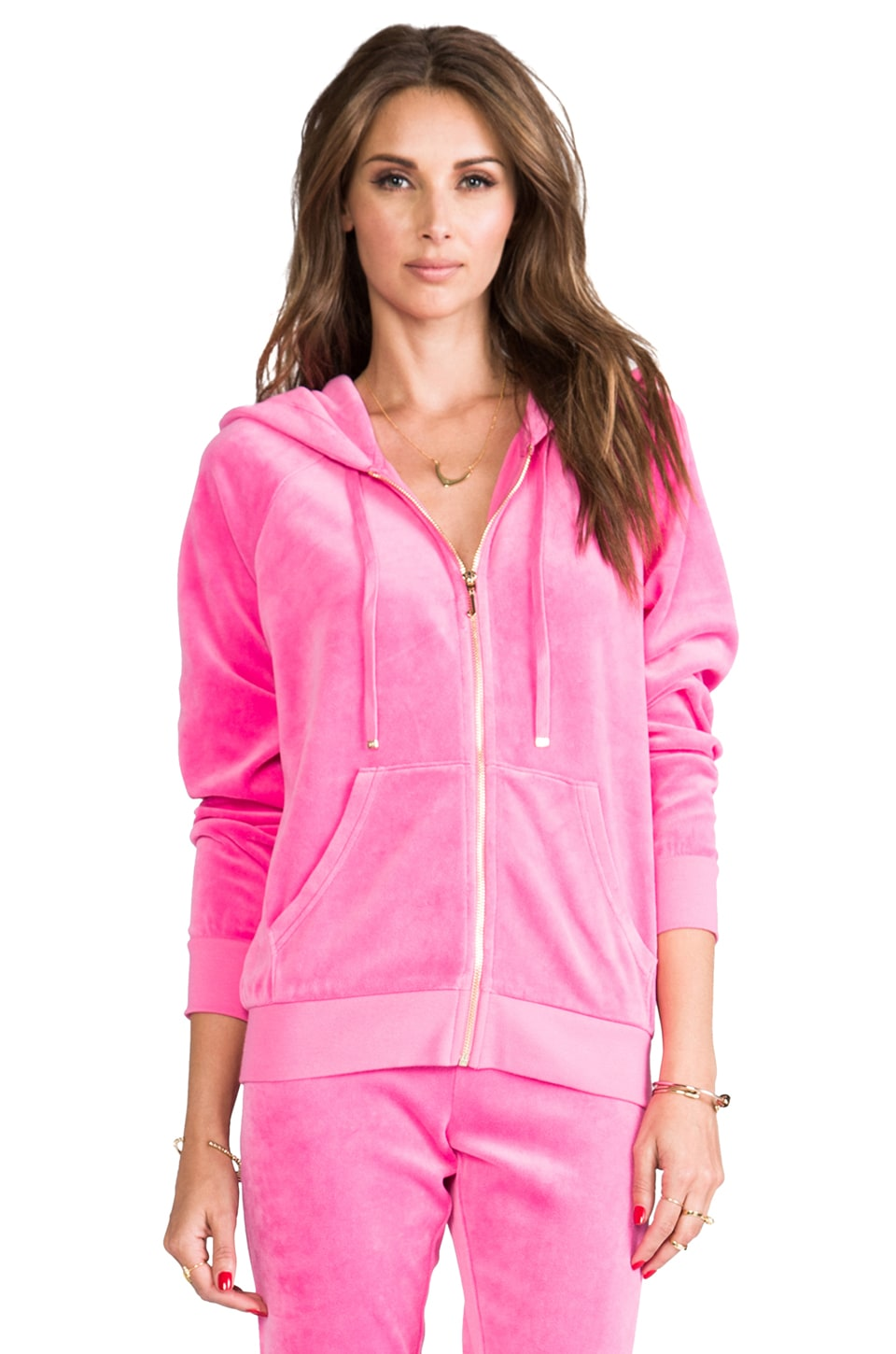 Juicy Couture J Bling Relaxed Hoodie in Fragrant Rose