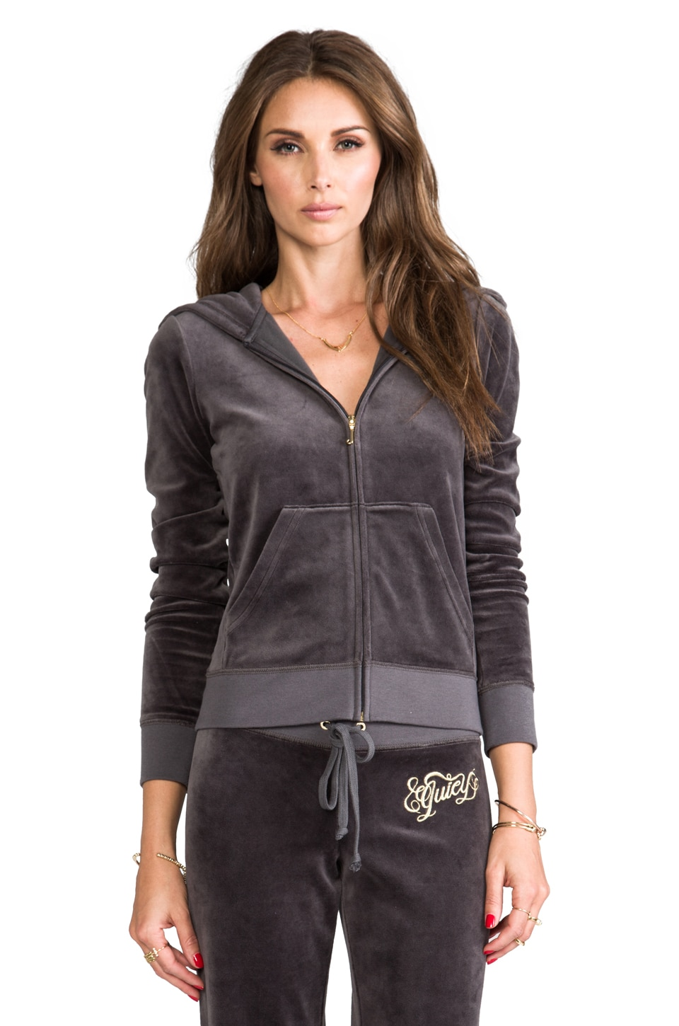 Juicy Couture Script Hoodie in Top Hat