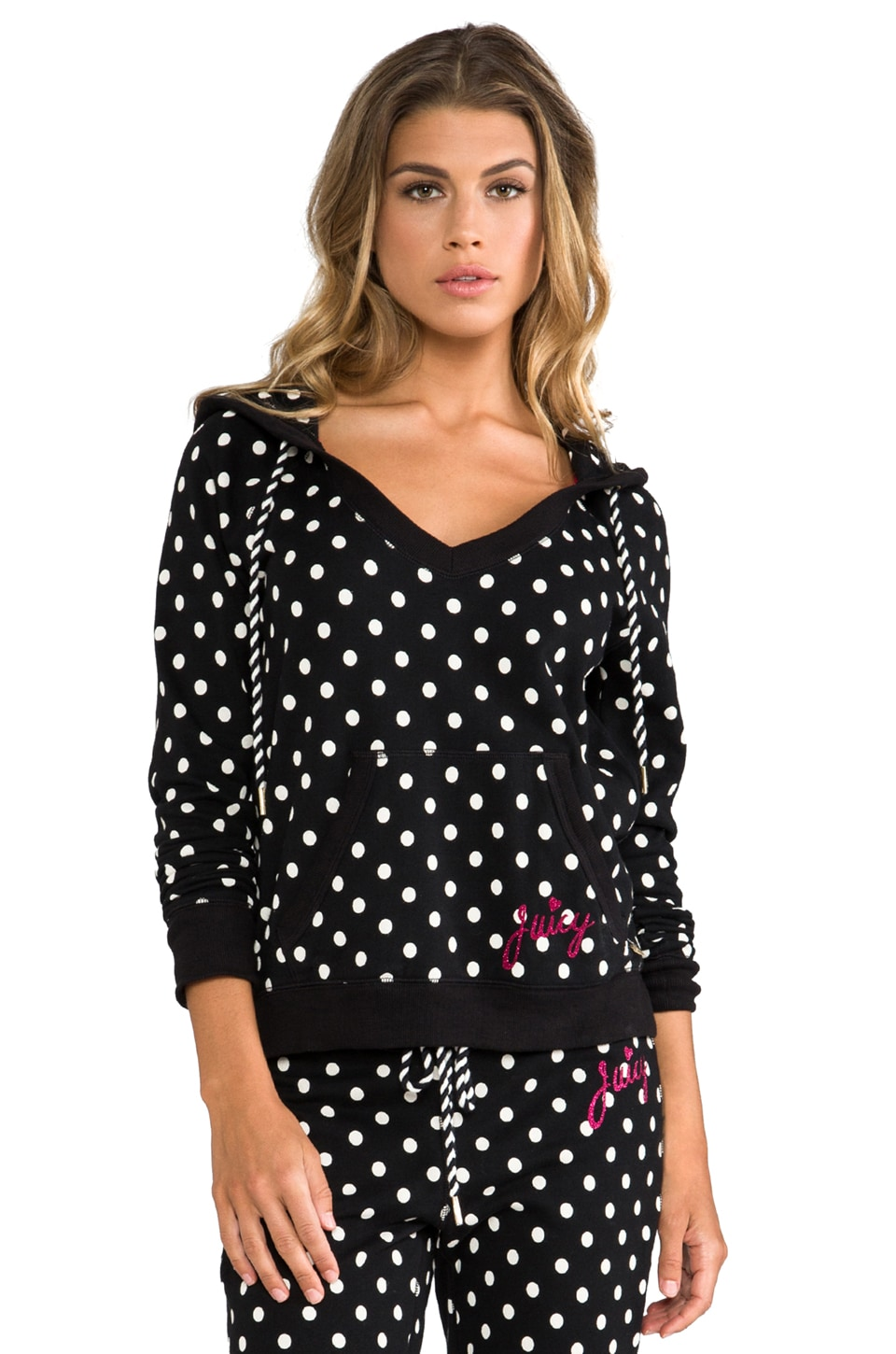Juicy Couture Polka Dot French Terry Pullover in Black/Angel Preppy