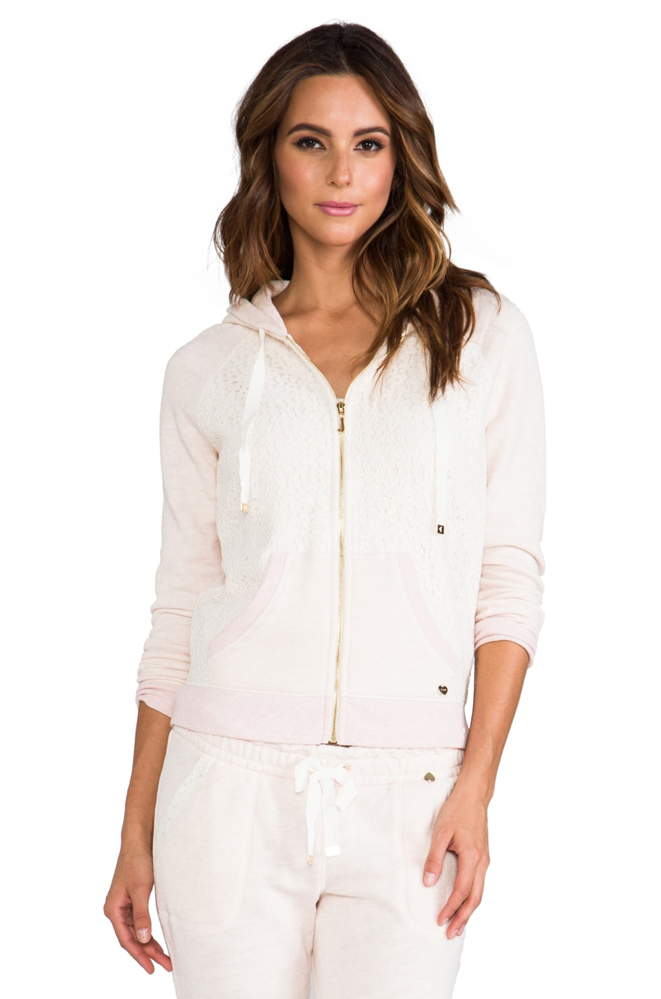 Juicy Couture Lace Hoodie in Heather Pink
