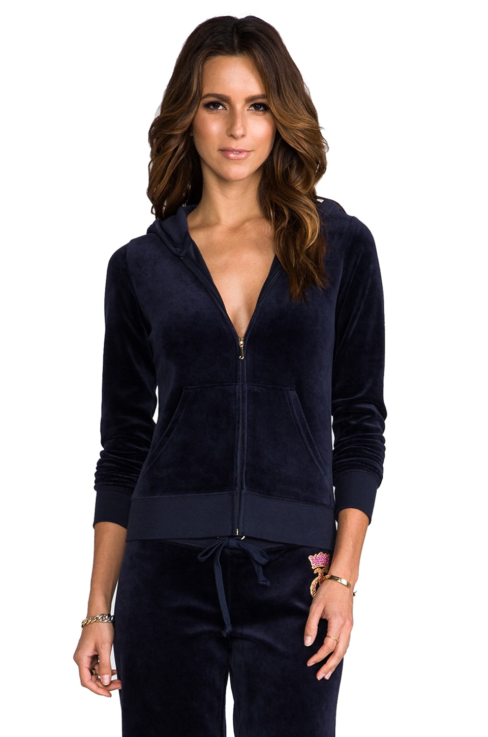 Juicy Couture Crown Cameo Velour Hoodie in Regal