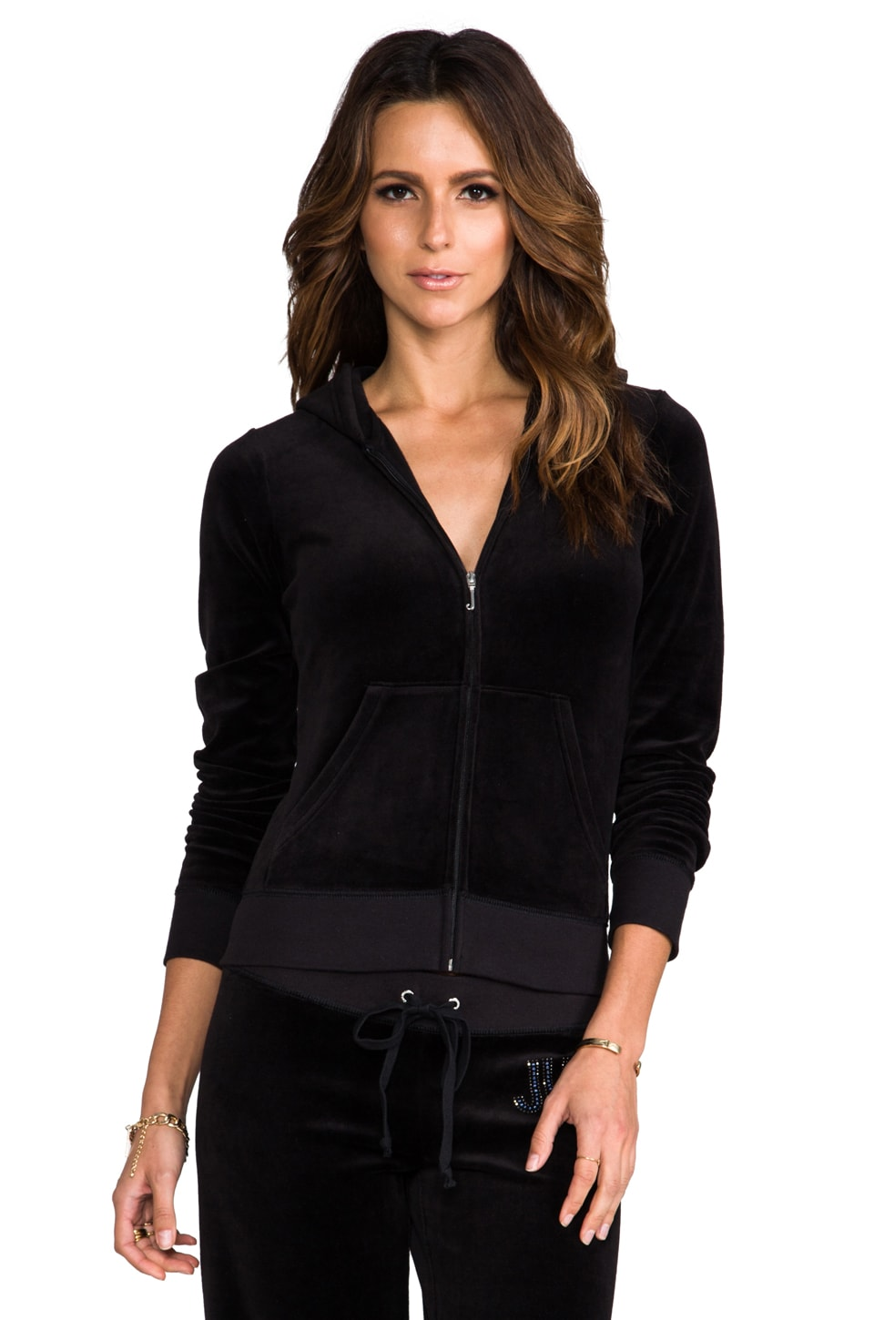 Juicy Couture Jewels Velour Hoodie in Black