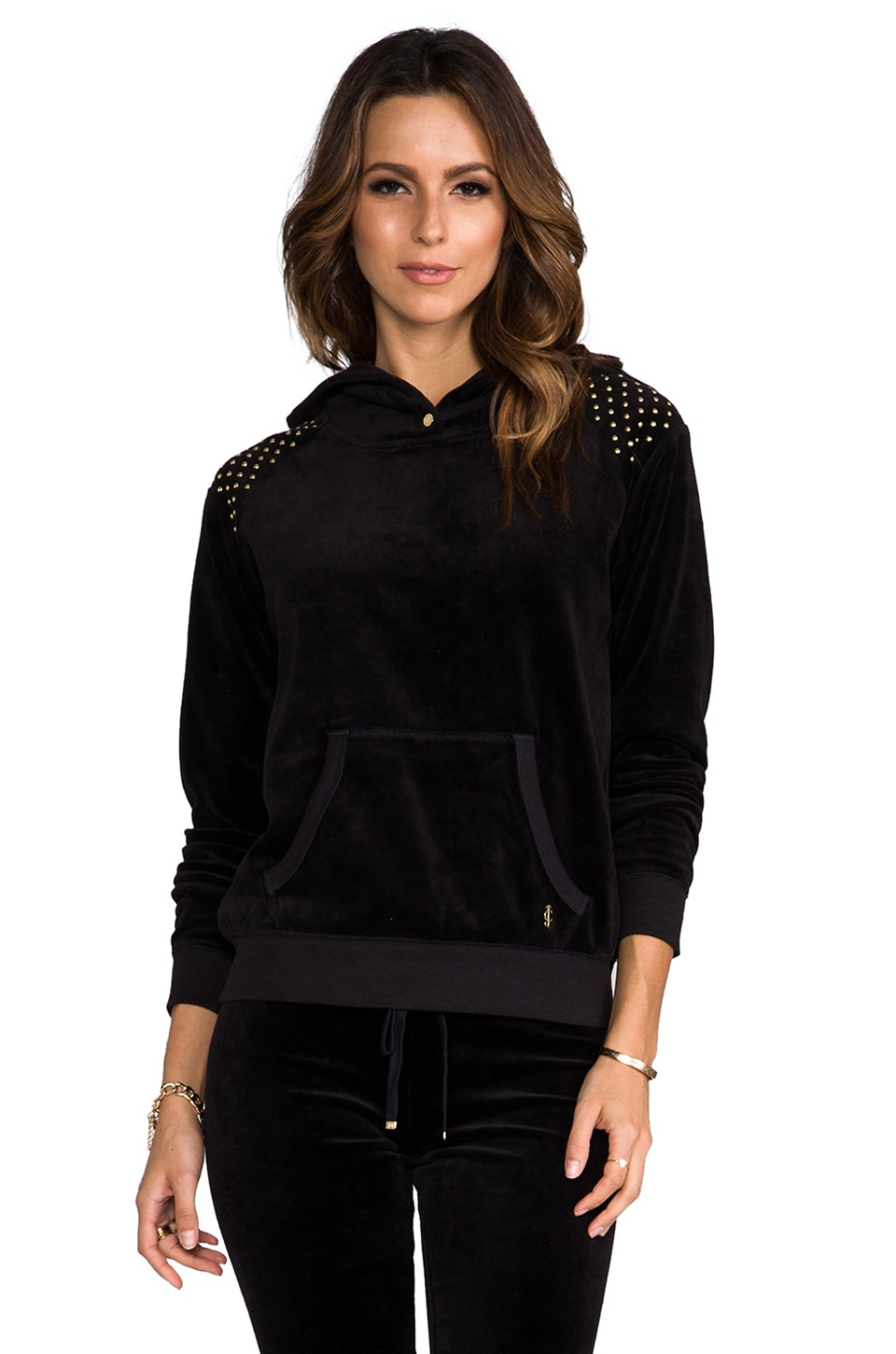 Juicy Couture Nailhead Hoodie Pullover in Black