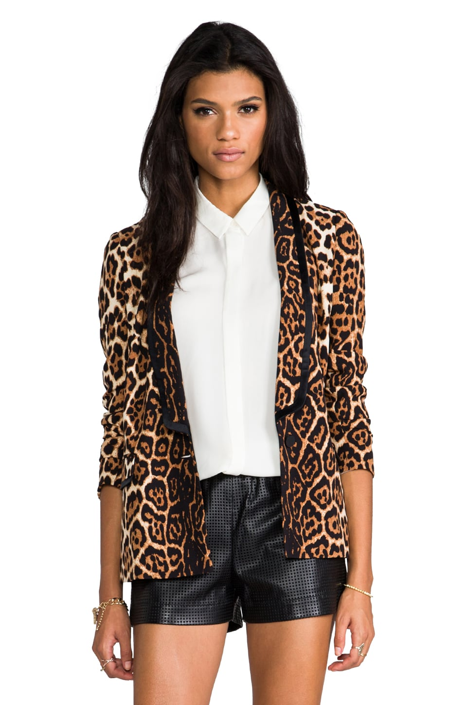 Juicy Couture Flowing Leopard Blazer in Ginger Flowing