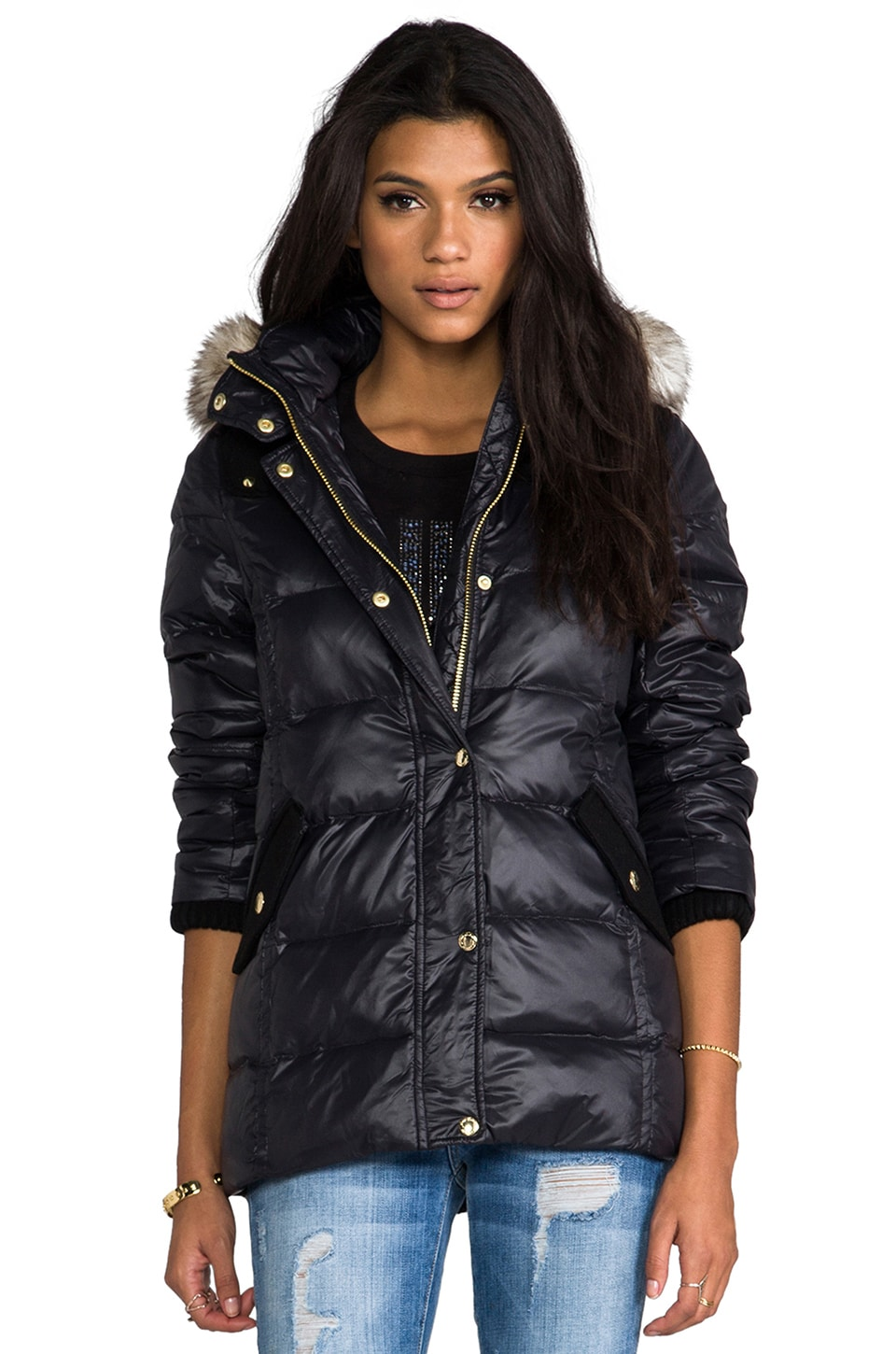 Juicy Couture Long Puffer Jacket w/ Faux Fur in Pitch Black