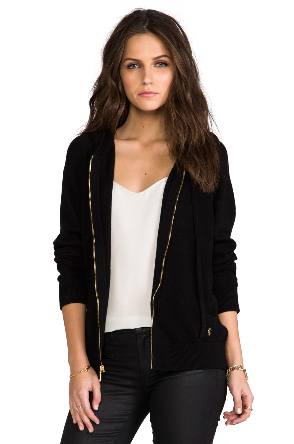 Juicy Couture Cozy Cash Blend Hoodie in Pitch Black