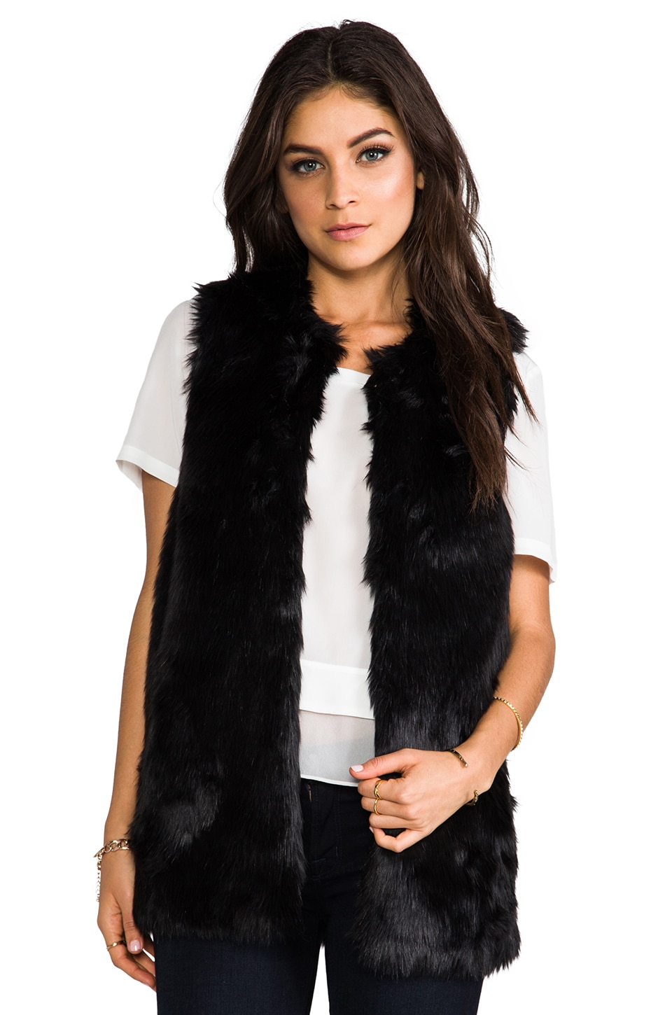 Juicy Couture Bear Faux Fur Vest in Pitch Black