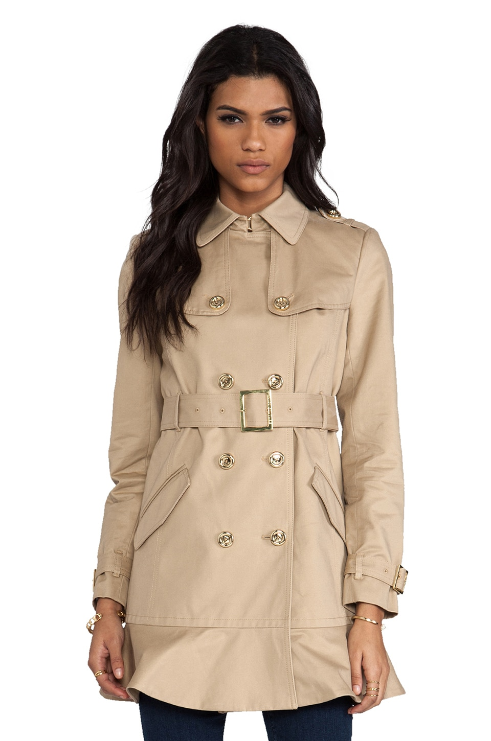 Juicy Couture Double Breasted Cotton Trench in Cassava
