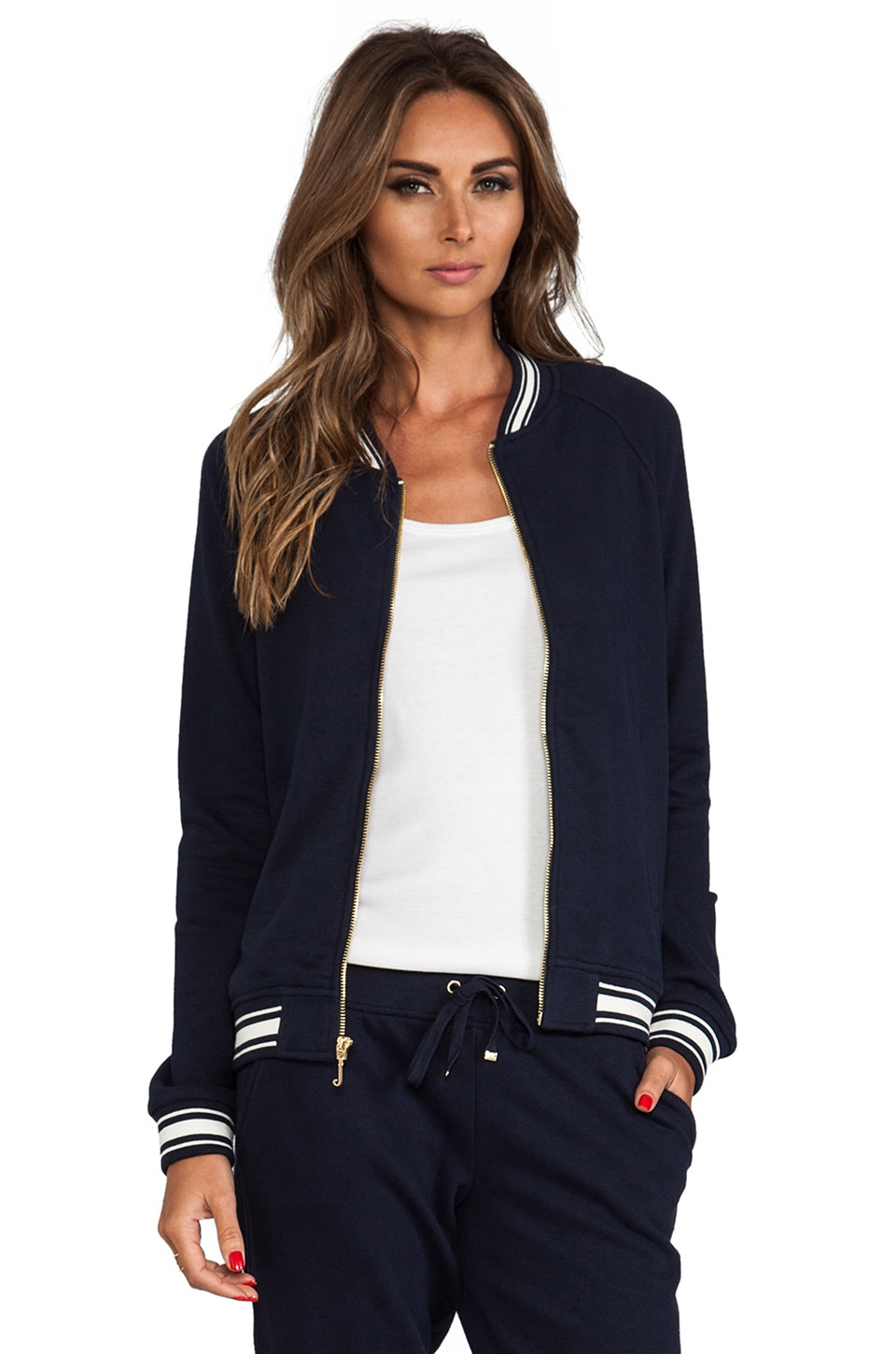 Juicy Couture Racer Rib Bomber Jacket in Regal