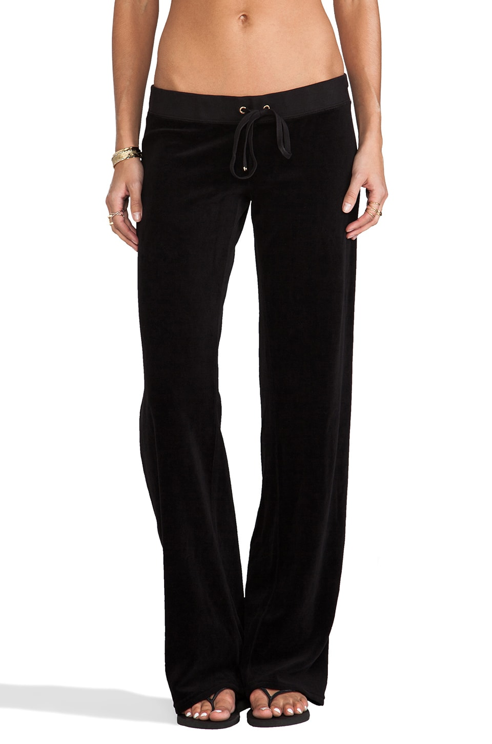 Juicy Couture Classic Velour Original Leg Pant in Black