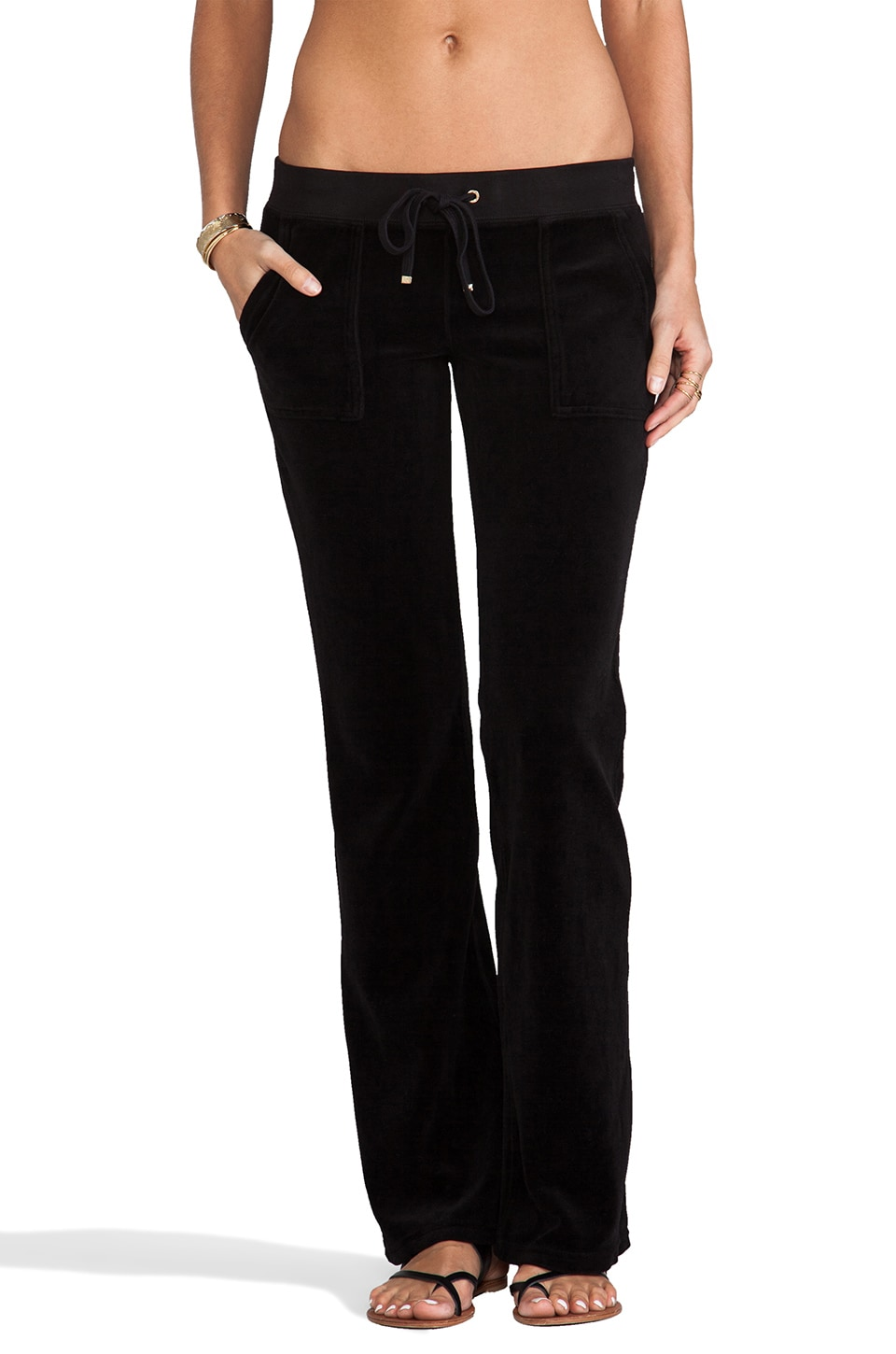Juicy Couture Velour Bootcut Pant with Snap Pockets in Black
