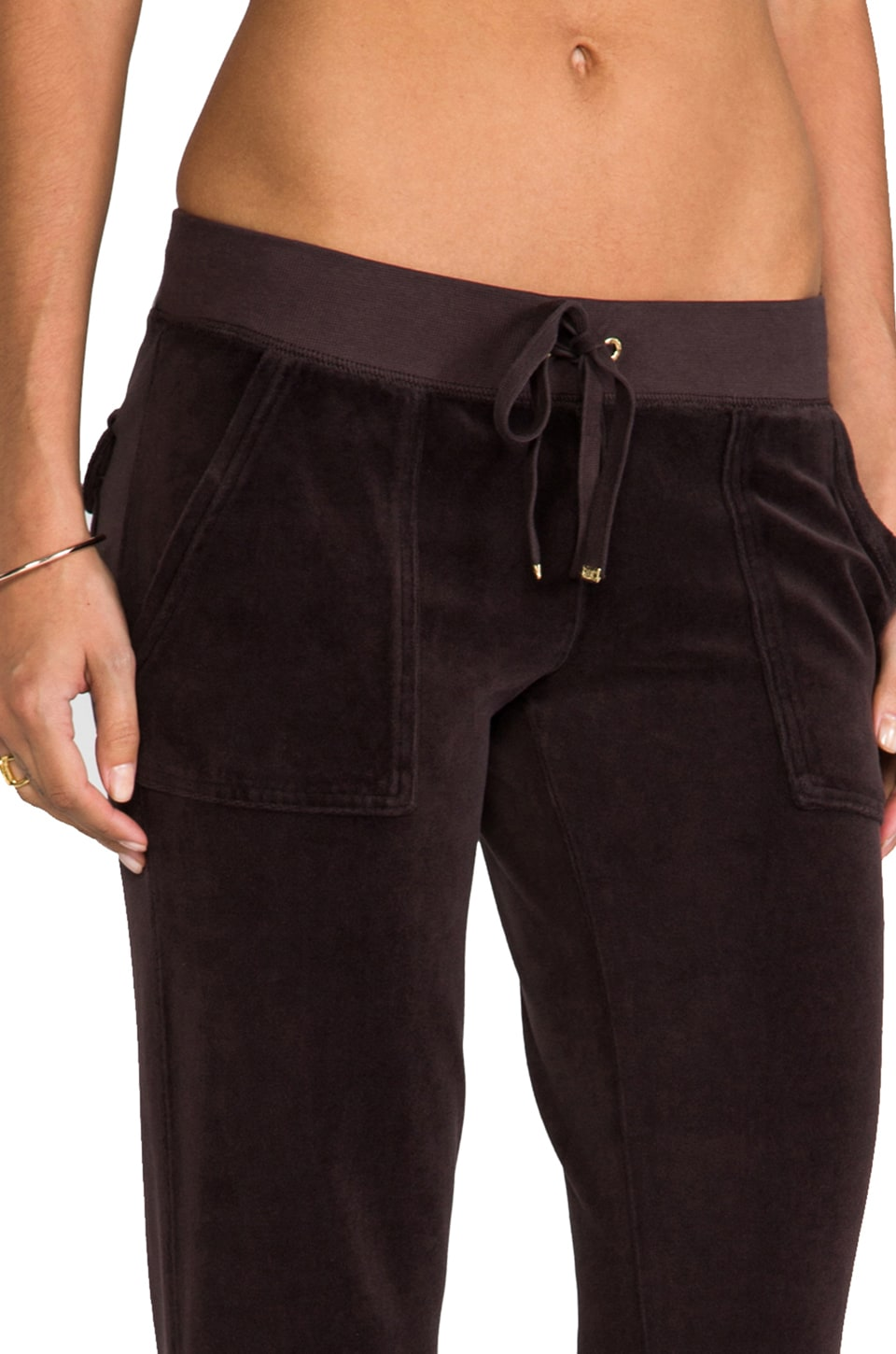 Juicy Couture Velour Flared Leg Pant with Snap Pockets in Chestnut