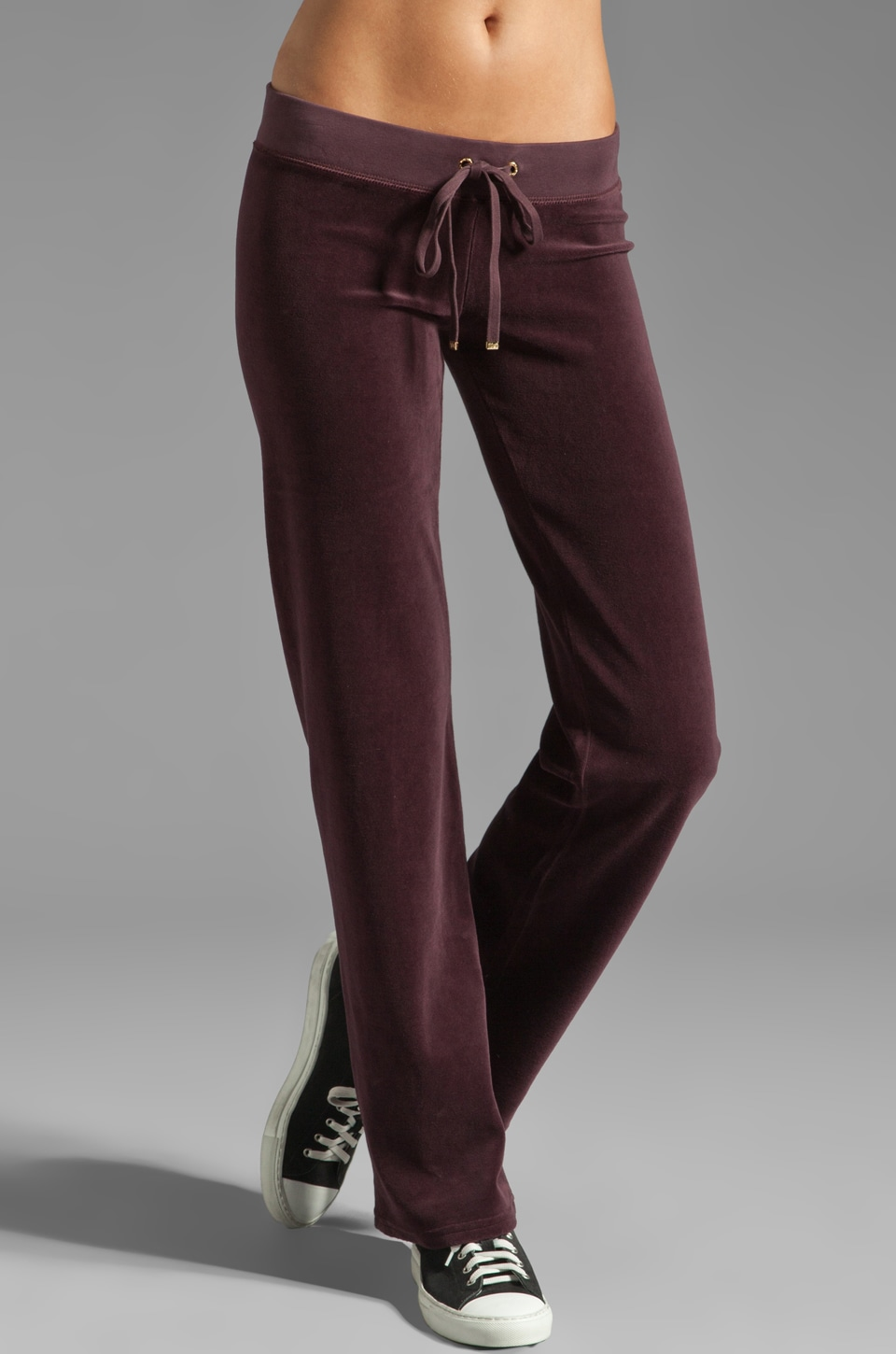 Juicy Couture Velour Original Leg Pant in Dark Cabernet