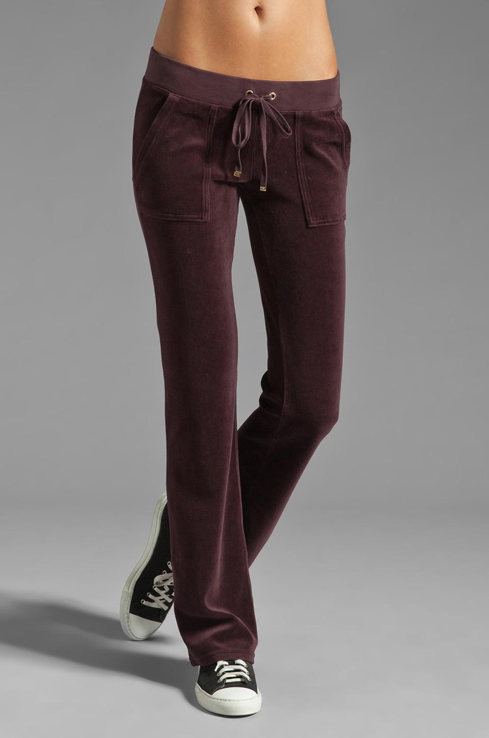 Juicy Couture Velour Bootcut Snap Pocket Pant in Dark Cabernet