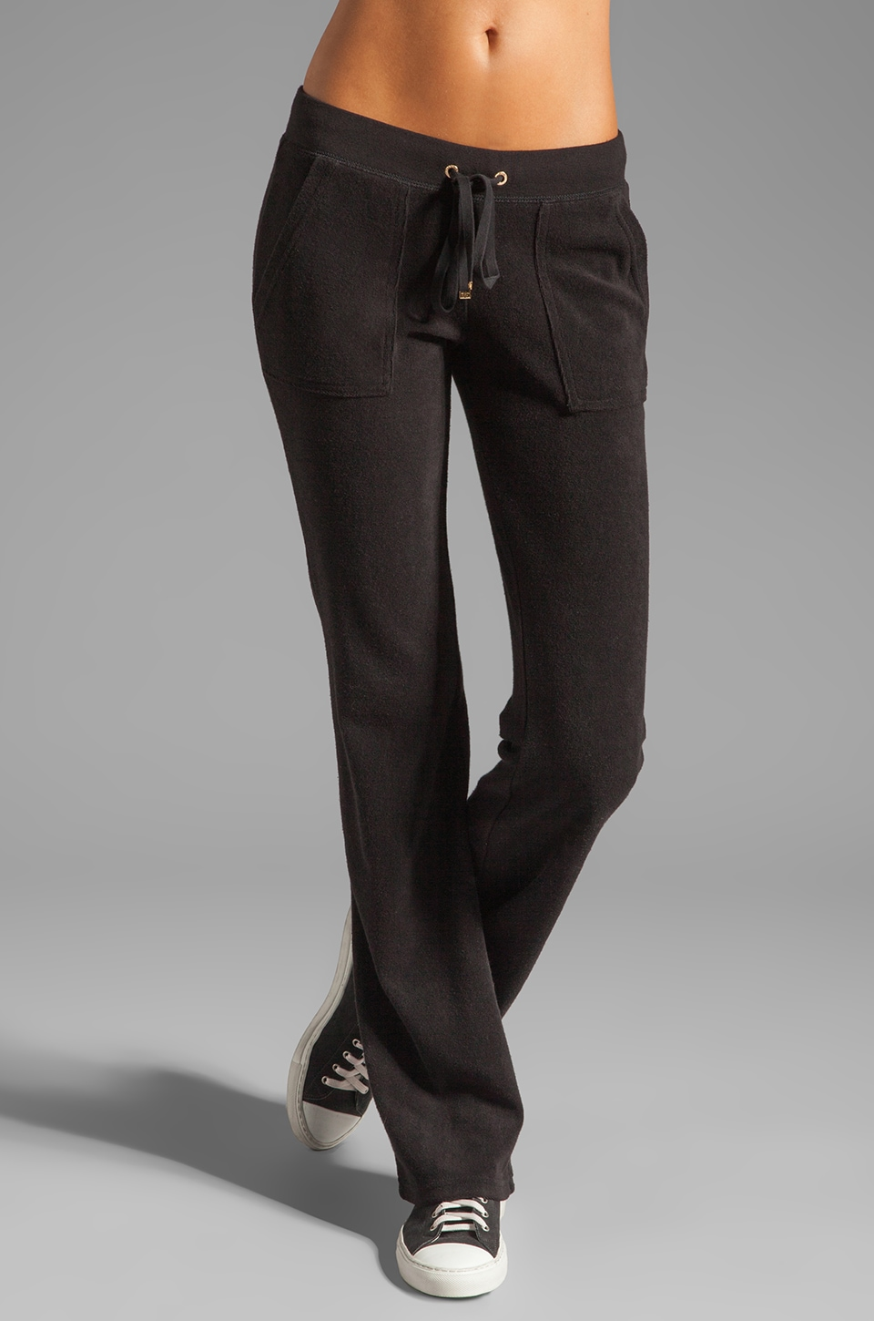 Juicy Couture Terry Snap Pocket Pant in Black