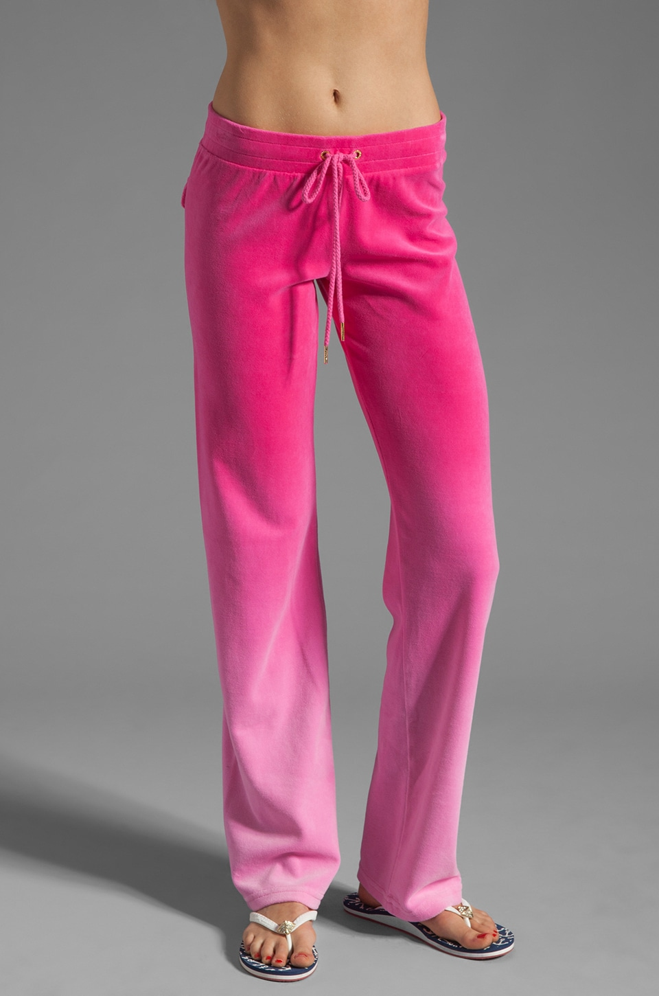 Juicy Couture Ombre Velour Track Pant in Passion Pink Ombre